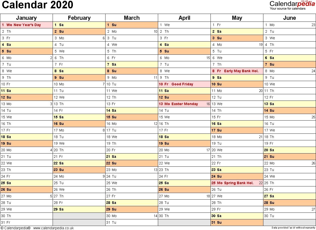 Calendar 2020 (Uk) - 16 Free Printable Word Templates  2020 Calendar Printable 3 Months Per Page