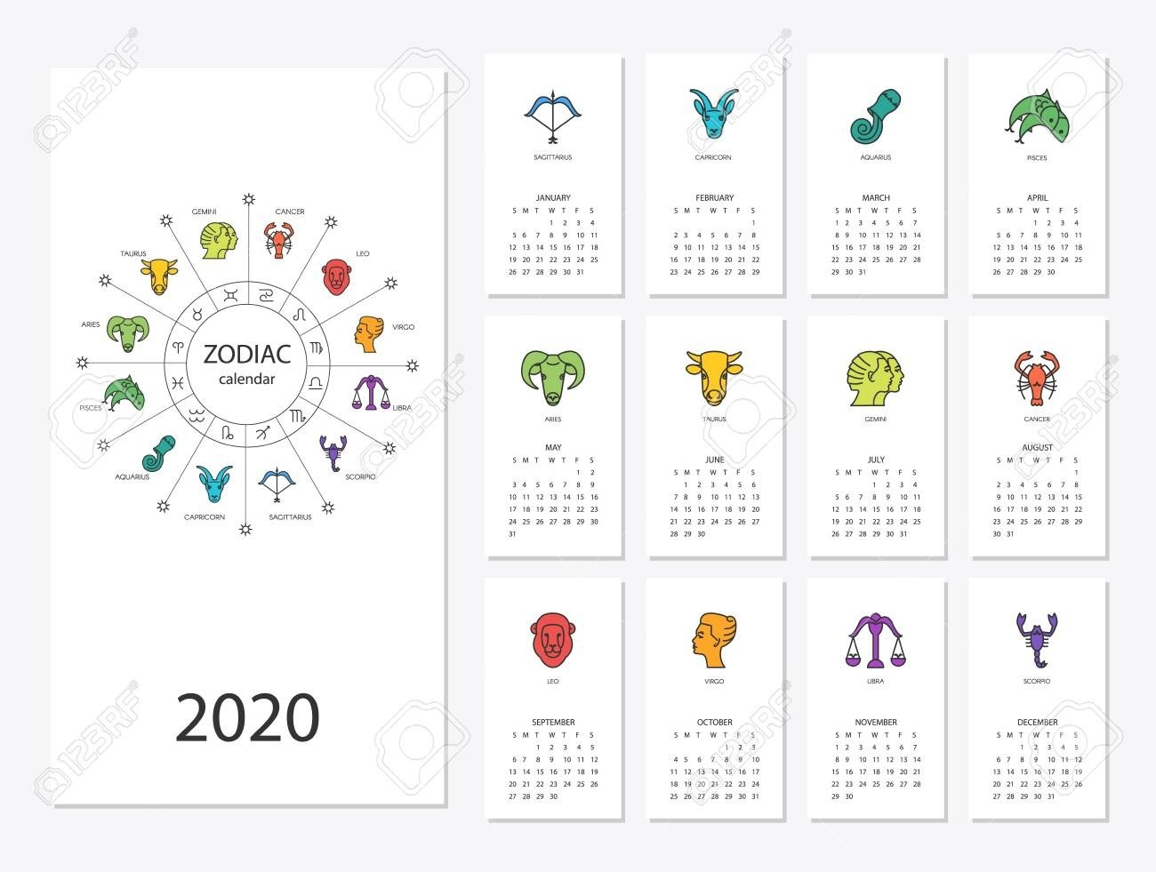 Calendar 2020 With Horoscope Signs Zodiac Symbols Set  2020 Calendar With Zodiac Signs