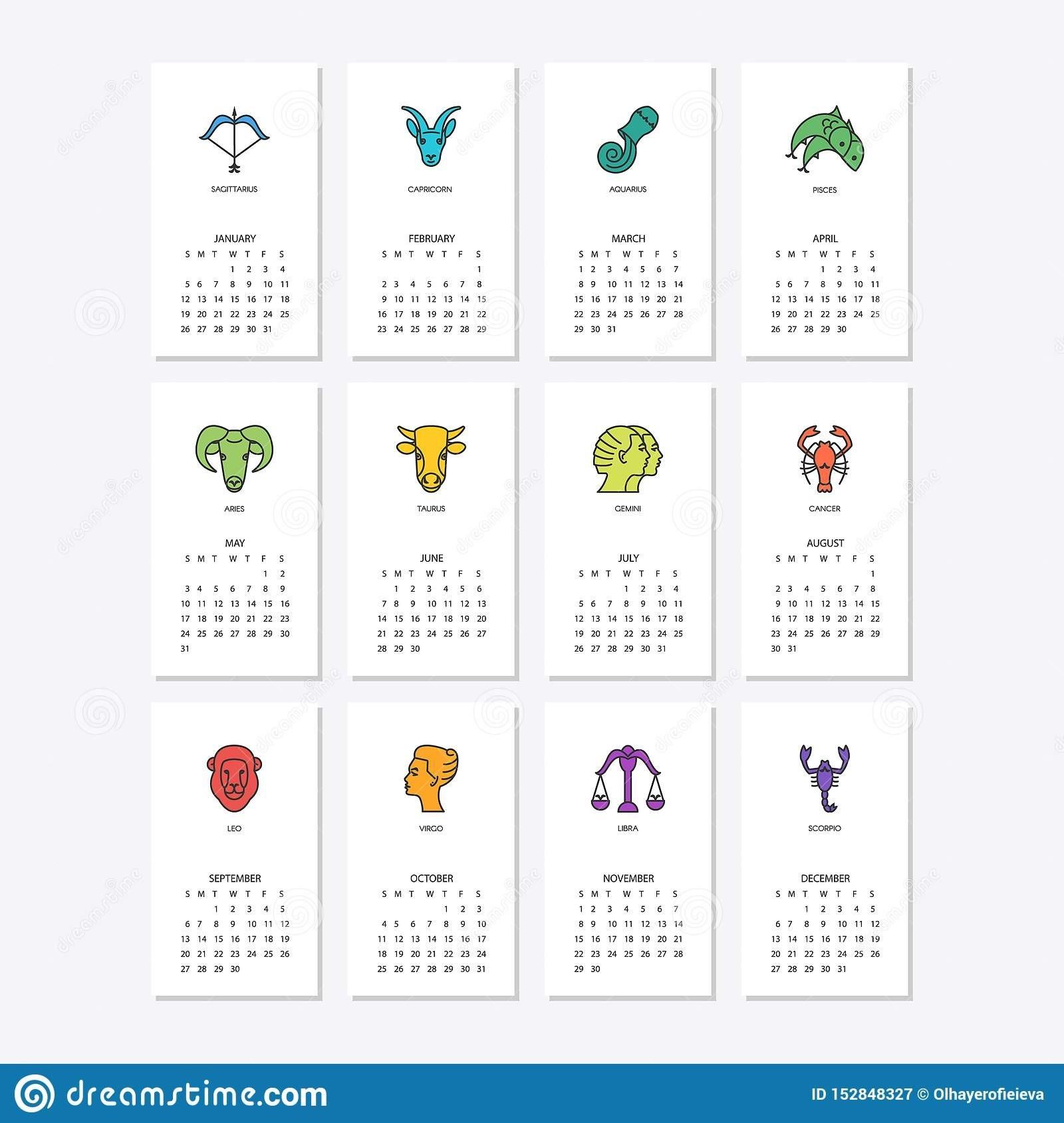 Calendar 2020 With Horoscope Signs Zodiac Symbols Set Stock  2020 Calendar With Zodiac Signs