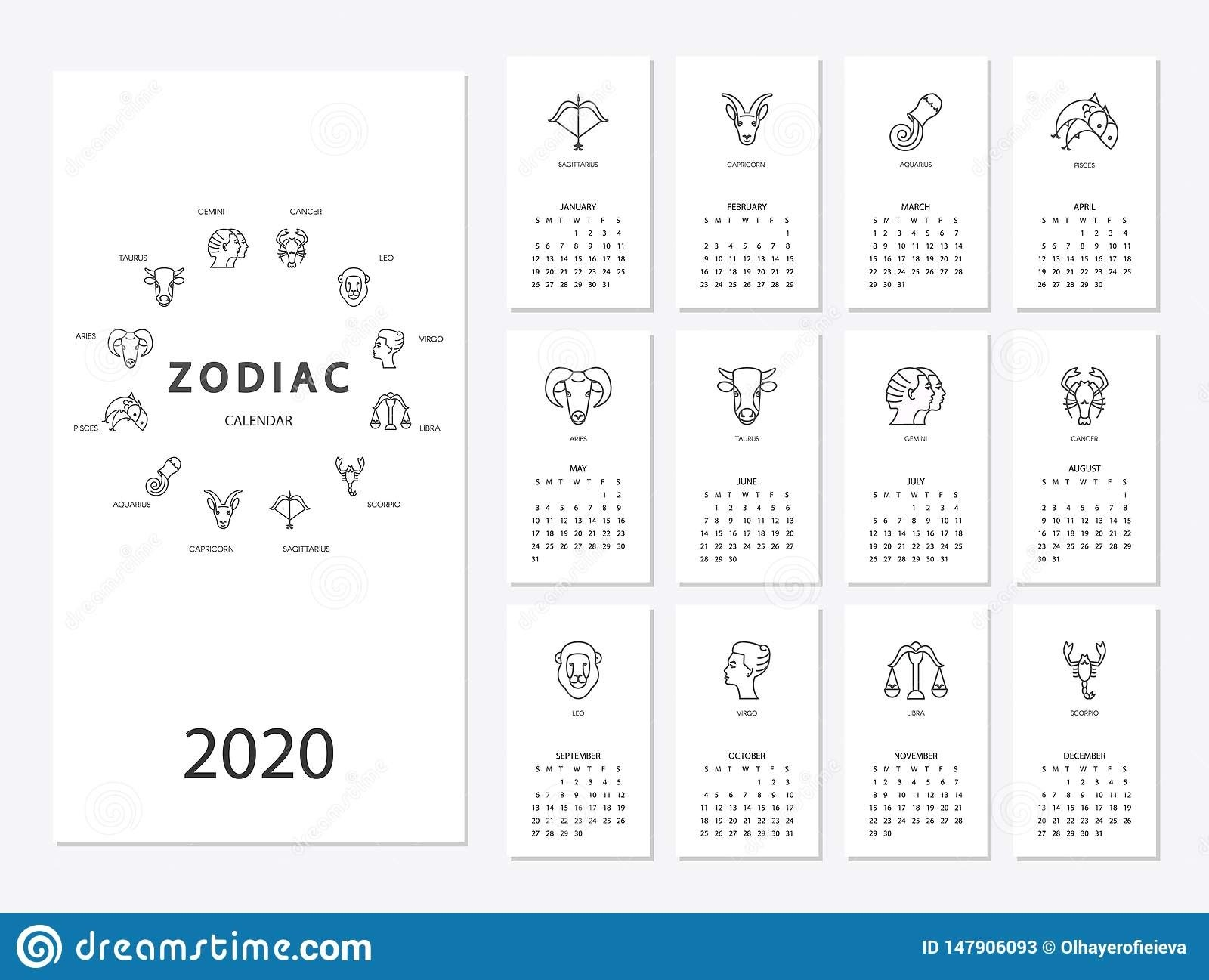 Calendar 2020 With Horoscope Signs Zodiac Symbols Set Stock  2020 Calendar With Zodiac Signs