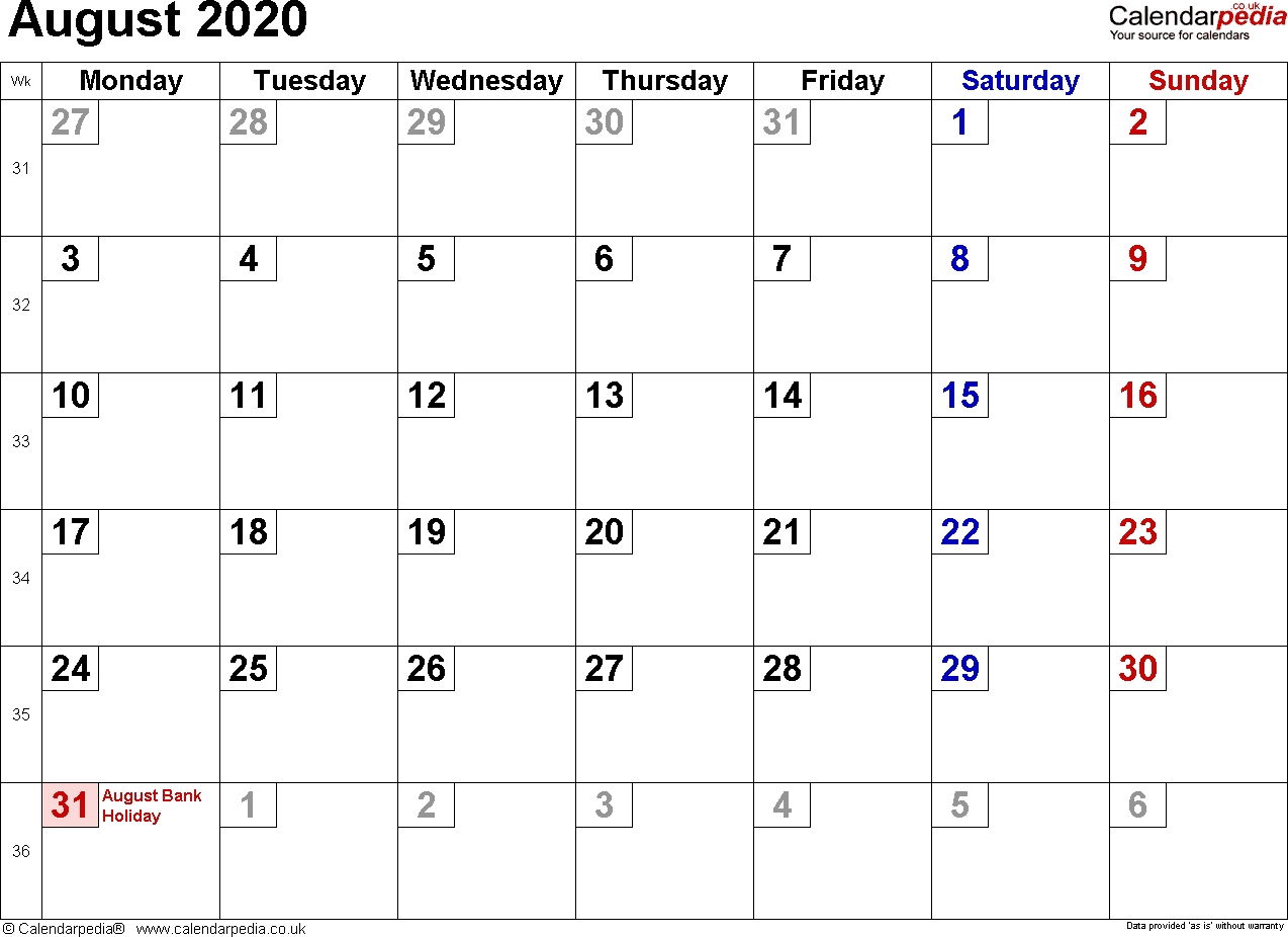 Calendar August 2020 Uk, Bank Holidays, Excel/pdf/word Templates  Small August 2020 Calendar