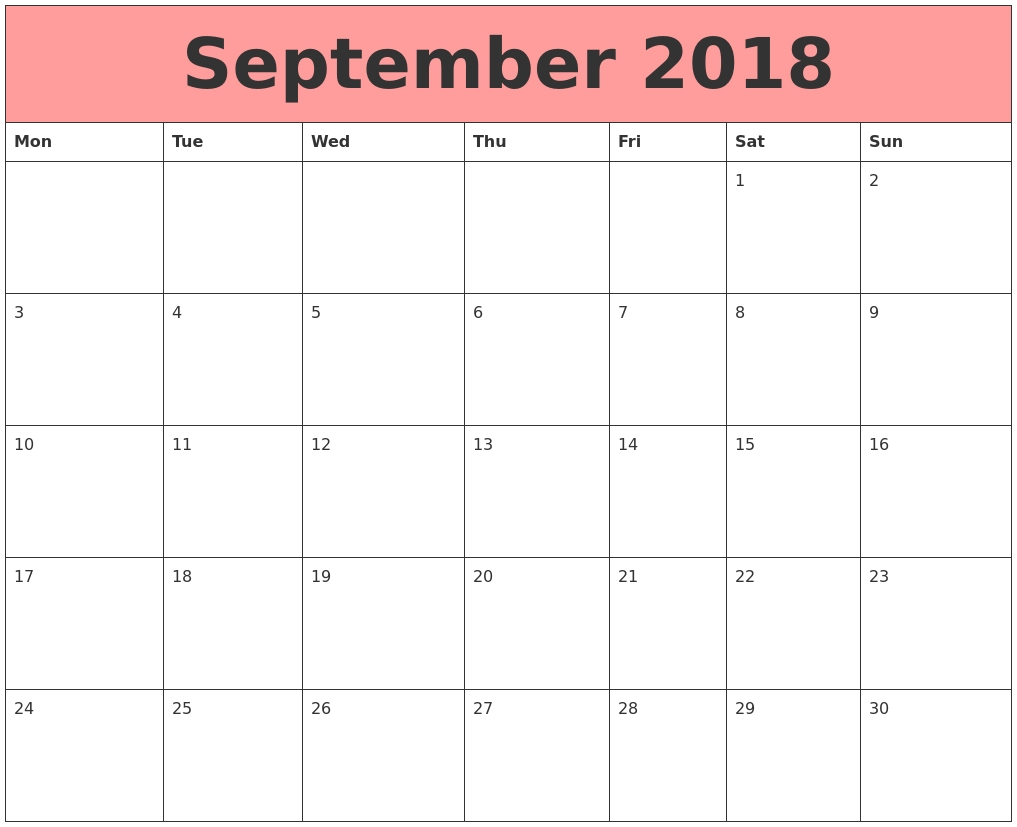 Calendar September 2018 Monday Start | September 2018  September Calendar Beginning With Mondays