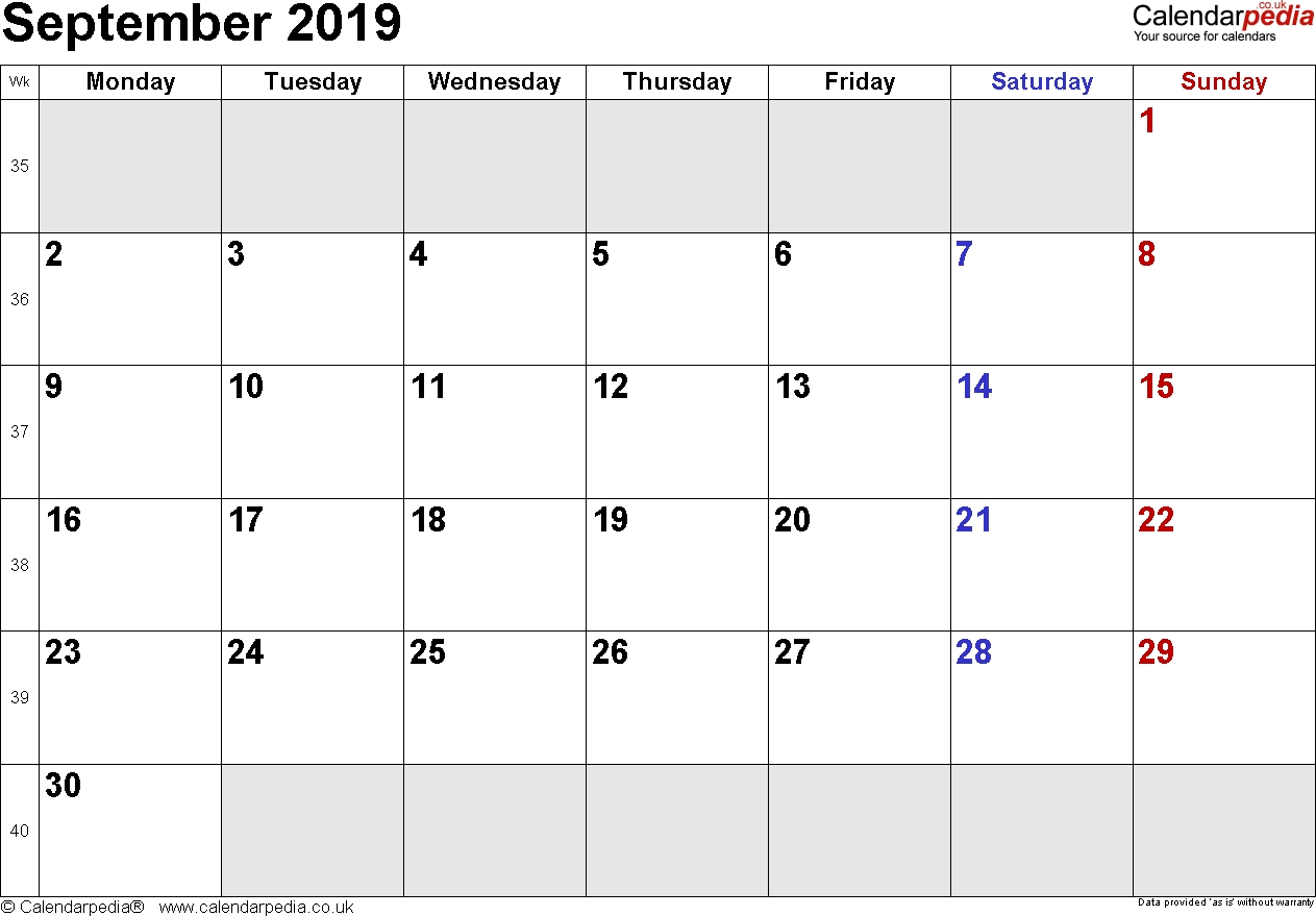 Calendar September 2019 Uk, Bank Holidays, Excel/pdf/word  September Calendar Beginning With Mondays