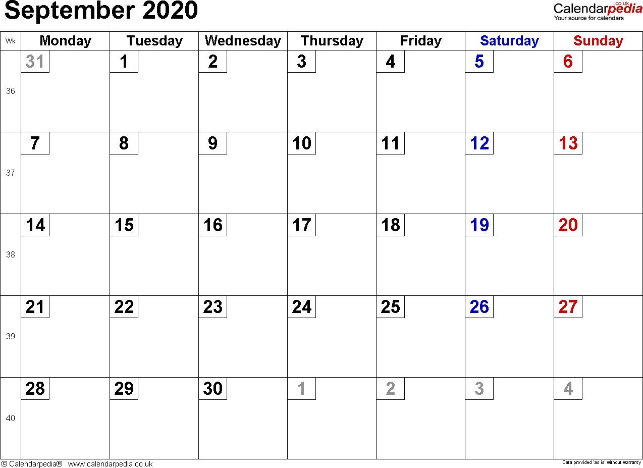Calendar September 2020 Uk, Bank Holidays, Excel/pdf/word  Printable Full Size Septmeber 2020 Calendar