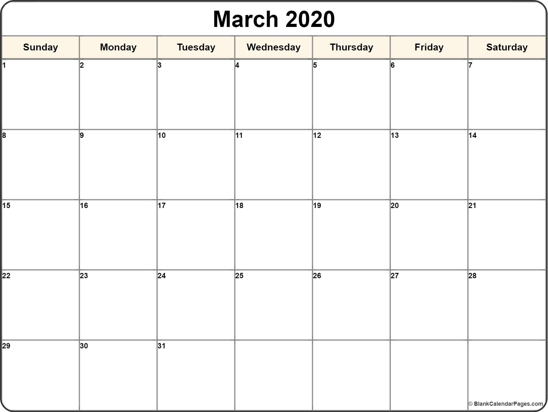 Calendar Template 2020 | One Page Calendar Printable  Blank Calendar Fill In 2020 Printable