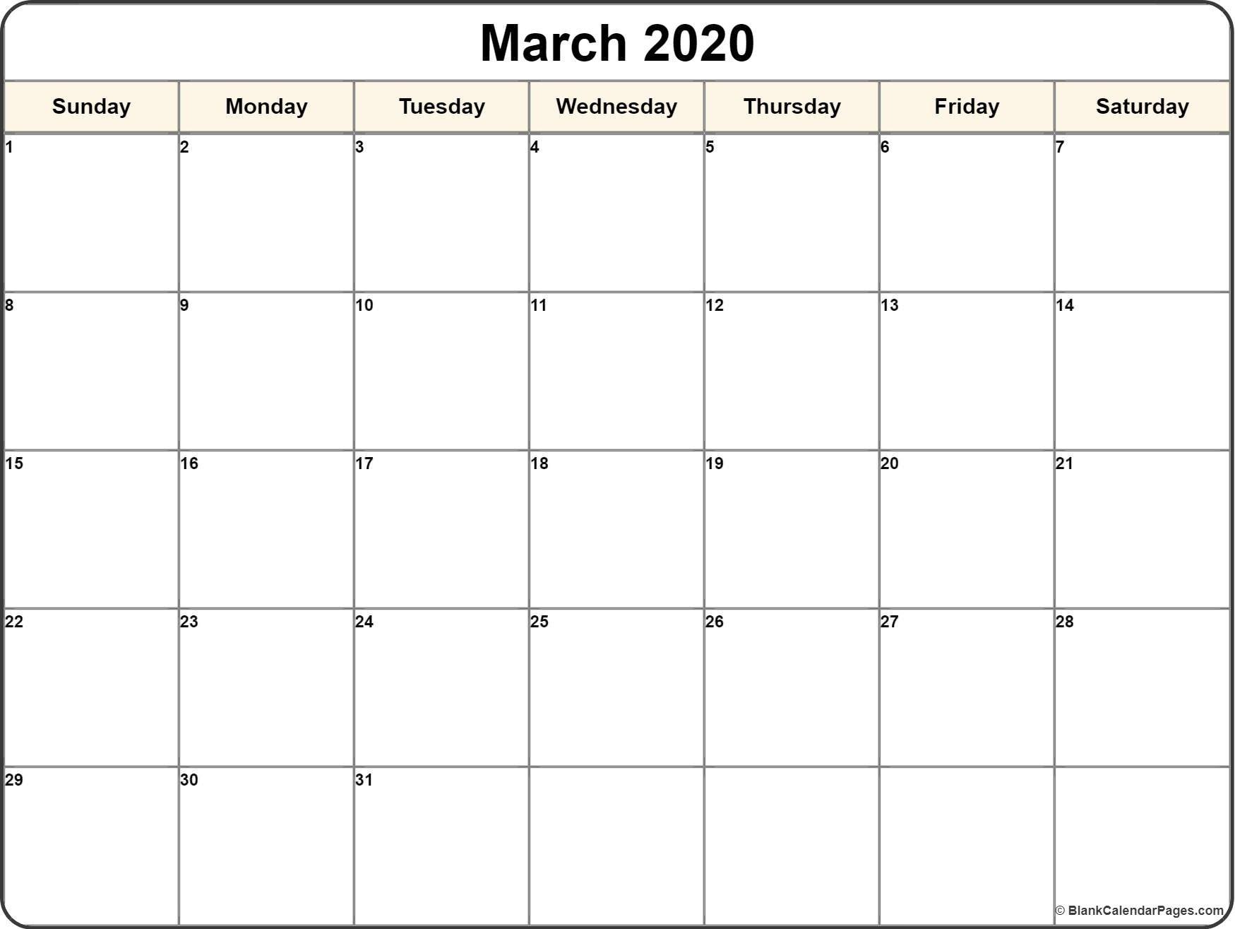 Calendar Template 2020 | One Page Calendar Printable  Fill In Calendar Template 2020