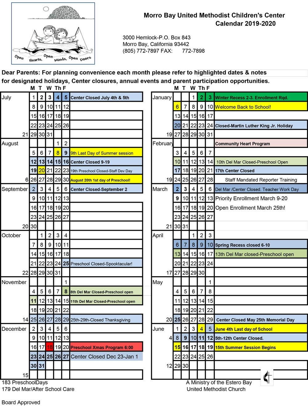 Calendar - United Methodist Children's Center  2020 Methodist Church Calendar