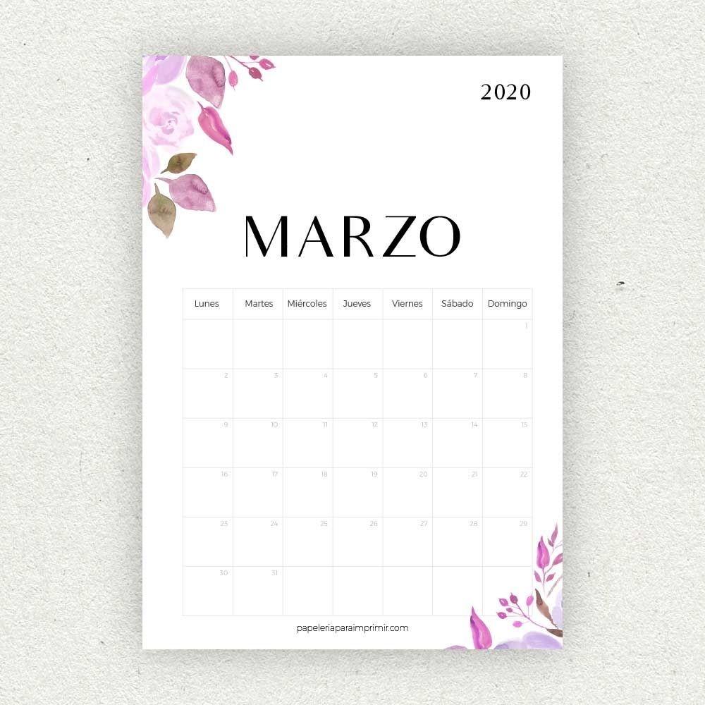Calendario Marzo 2020 Para Imprimir #calendario #calendar  Calendario Para Imprimir Mes Por Mes 2020