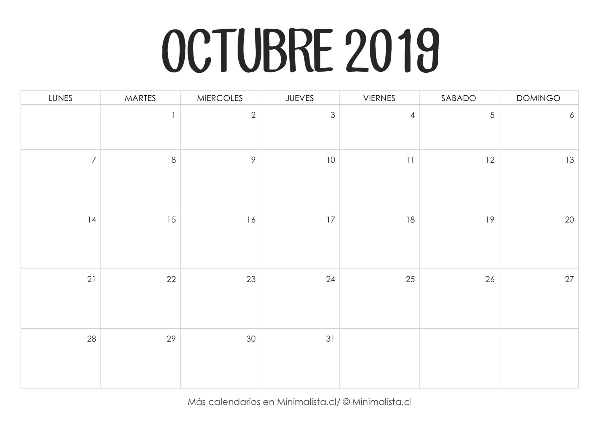 Calendario Octubre 2019 Para Imprimir | Manualidades  Calendario Para Imprimir Mes Por Mes 2020