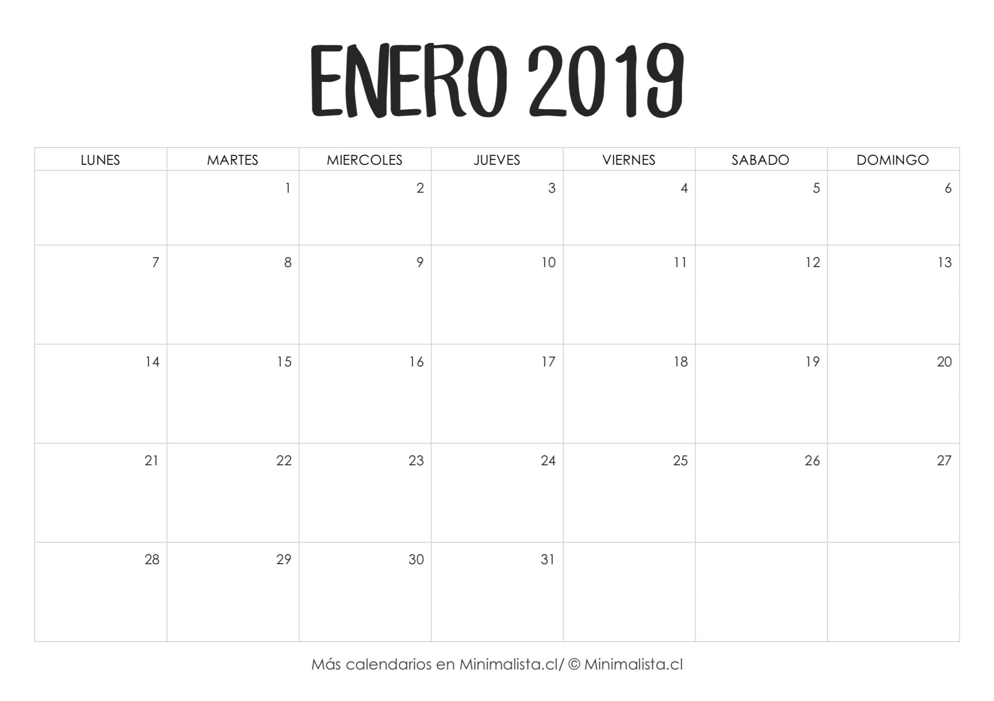 Calendarios 2019 Para Imprimir - Minimalista  Calendario Para Imprimir Mes Por Mes 2020