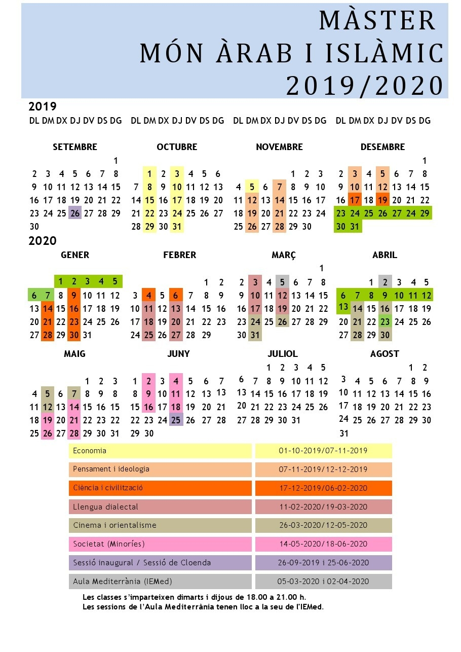 Calendrier  Calendrier Can 2020 Musulman