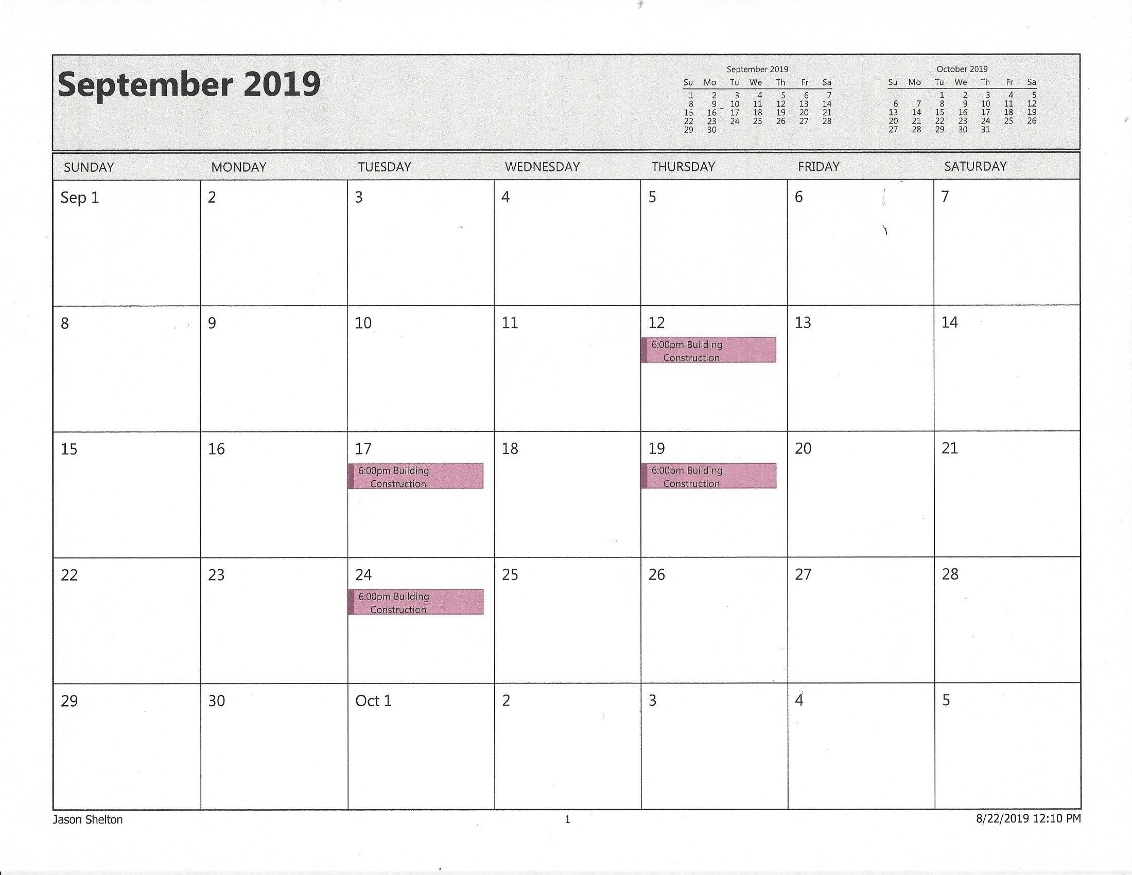 Certification Calendar  Fire Department Schedule 2020