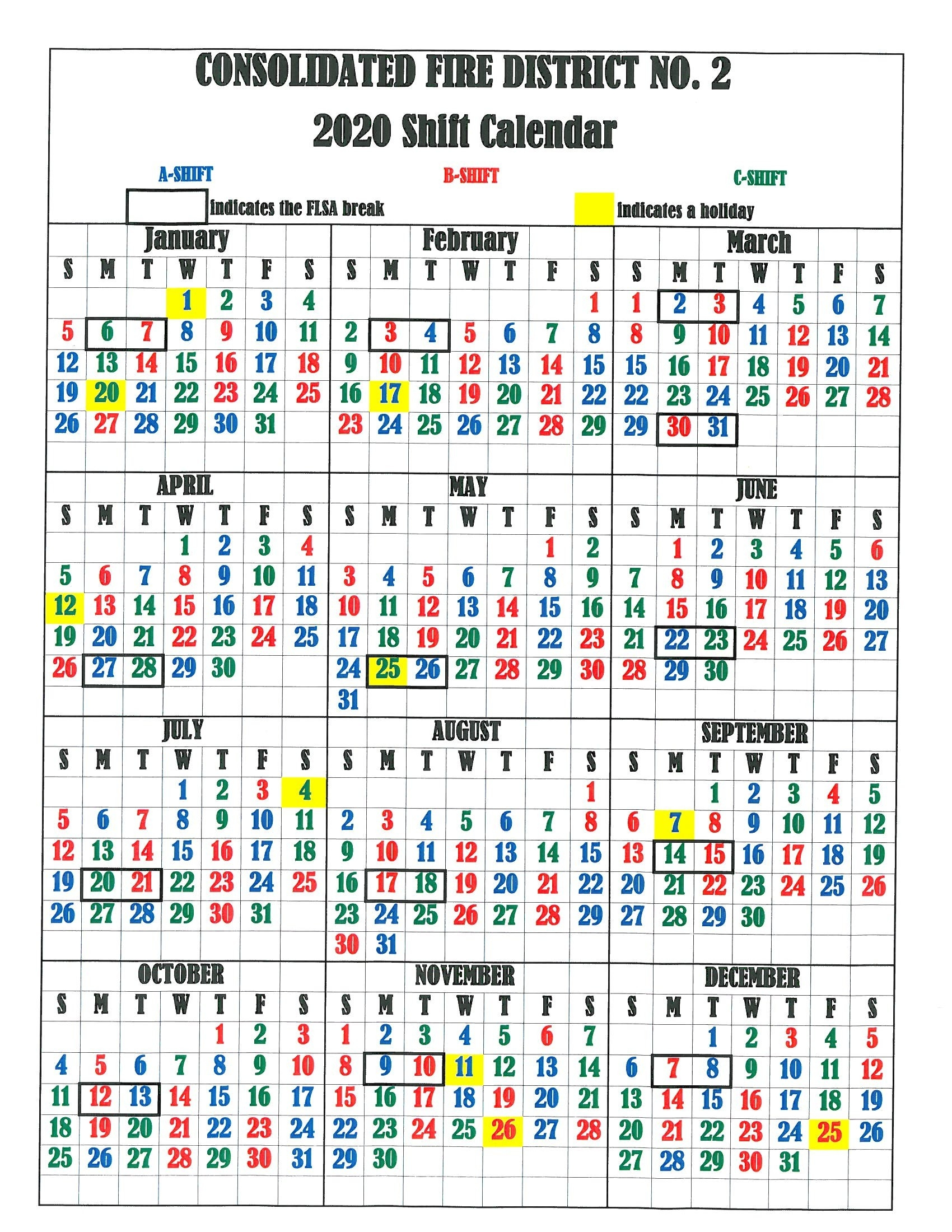 Cfd2 Shift Calendar - Consolidated Fire District #2  Fire Department Schedule 2020