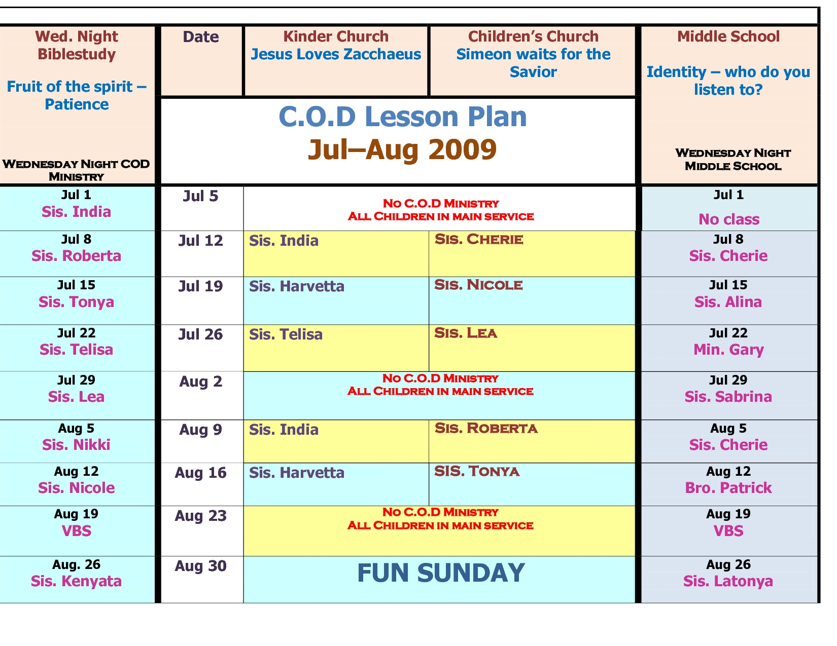 Children's Church Schedule Template - Google Search  Church Calendar Template