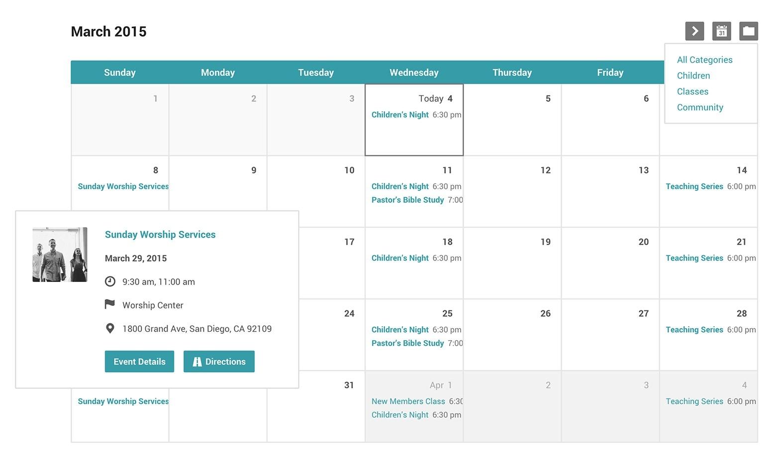 Church Events Calendar And Categories For WordPress  Church Calendar Template