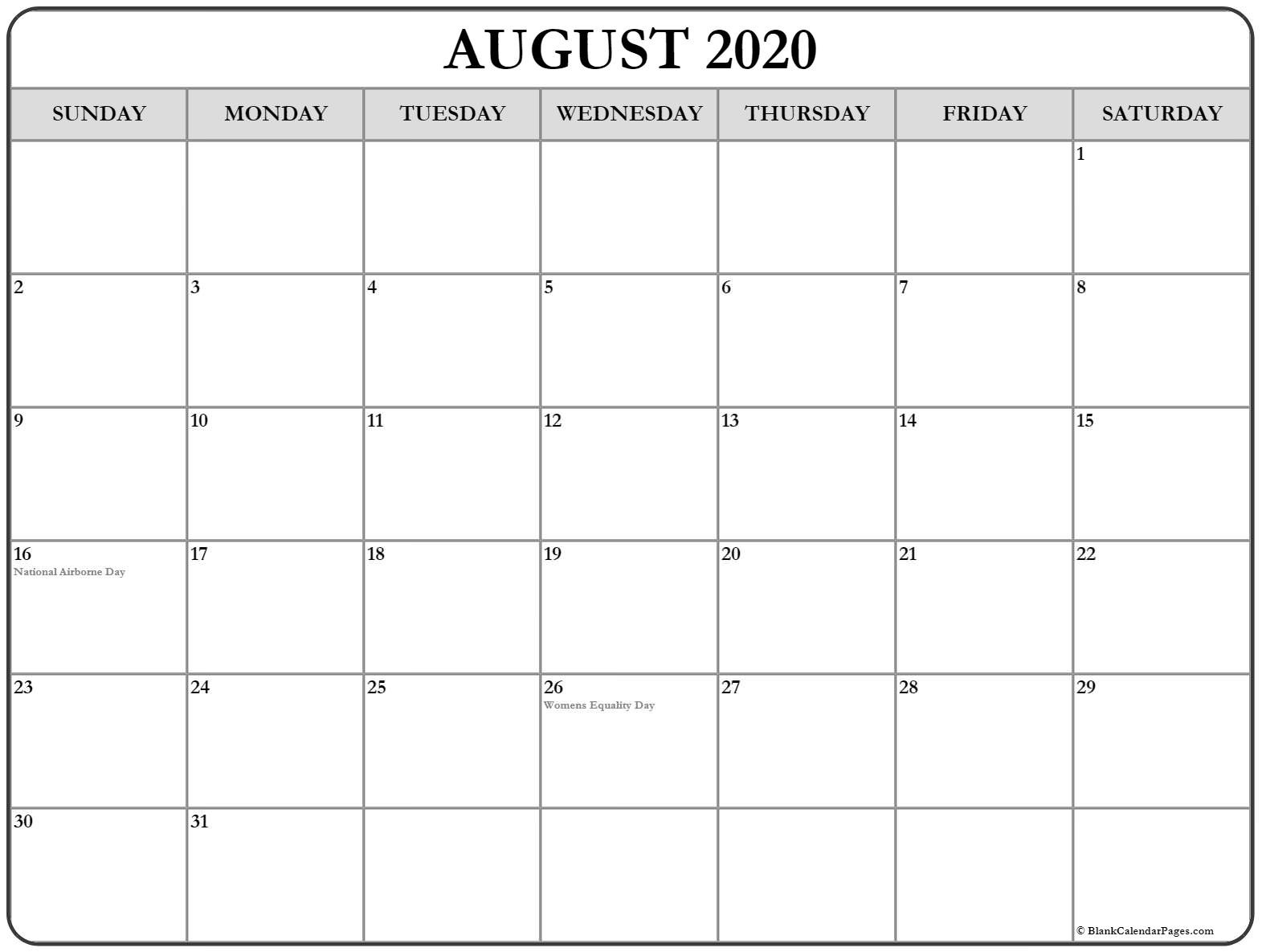 Collection Of August 2020 Calendars With Holidays  National Day Calendar August 2020