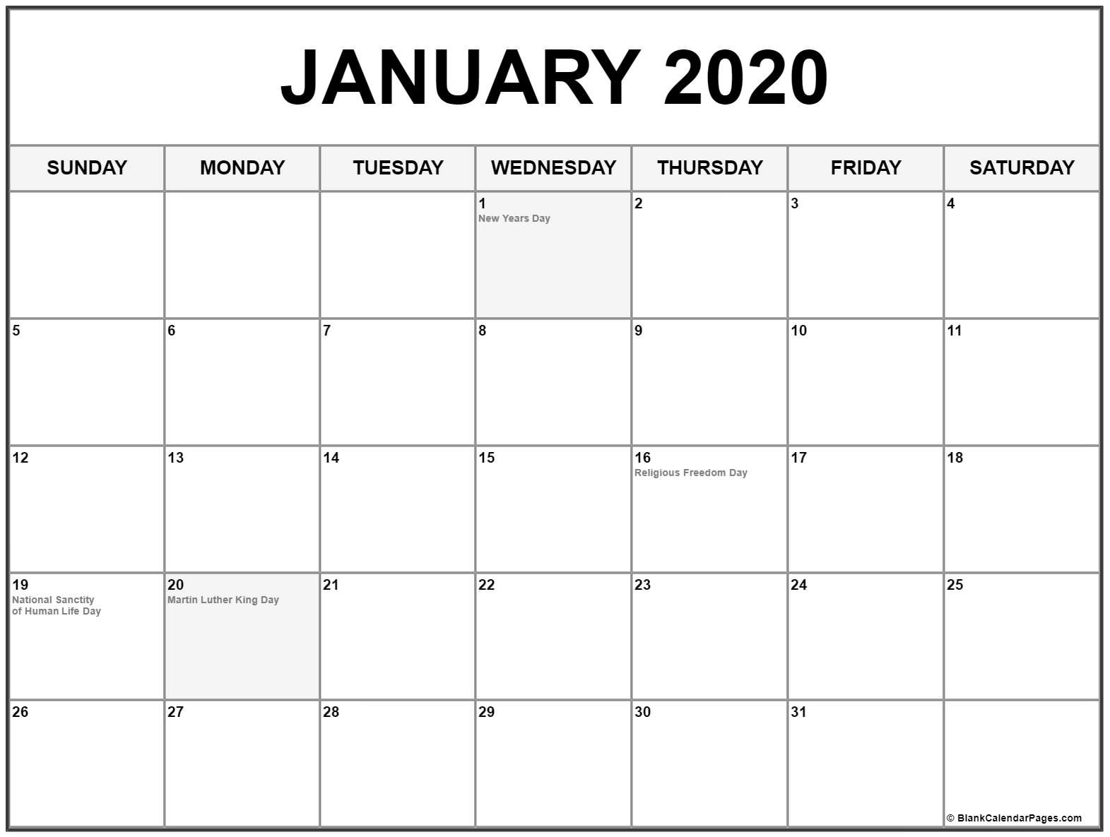 Collection Of January 2020 Calendars With Holidays  2020 Fun National Holiday Calendar