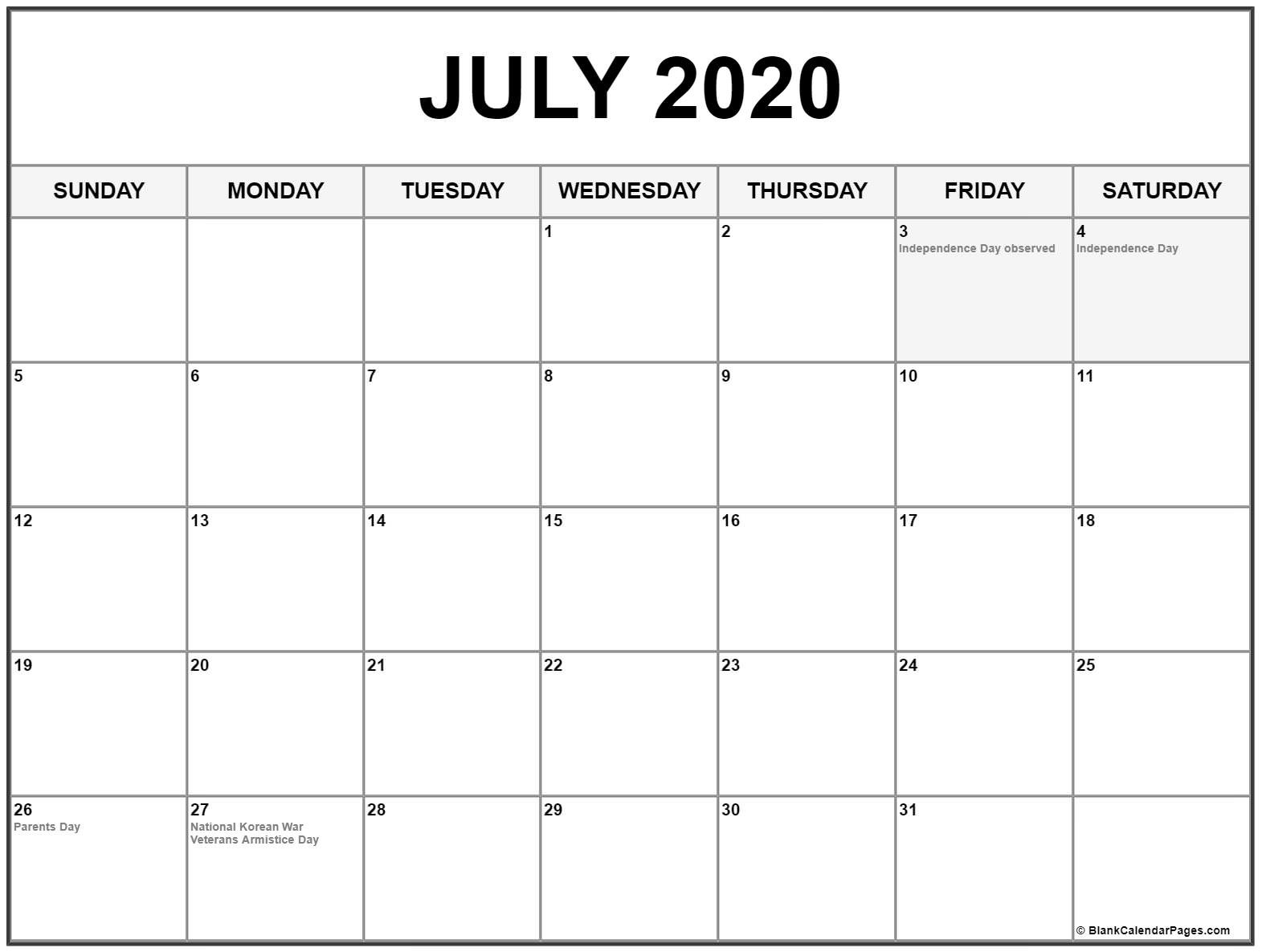 Collection Of July 2020 Calendars With Holidays  2020 Fun National Holiday Calendar