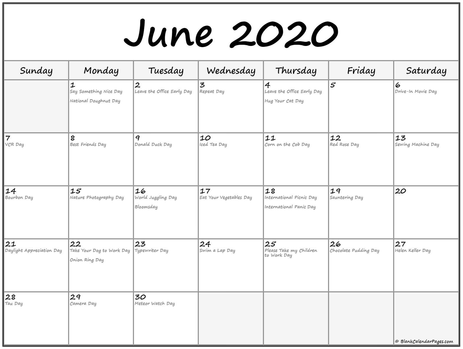 Collection Of June 2020 Calendars With Holidays  2020 Fun National Holiday Calendar