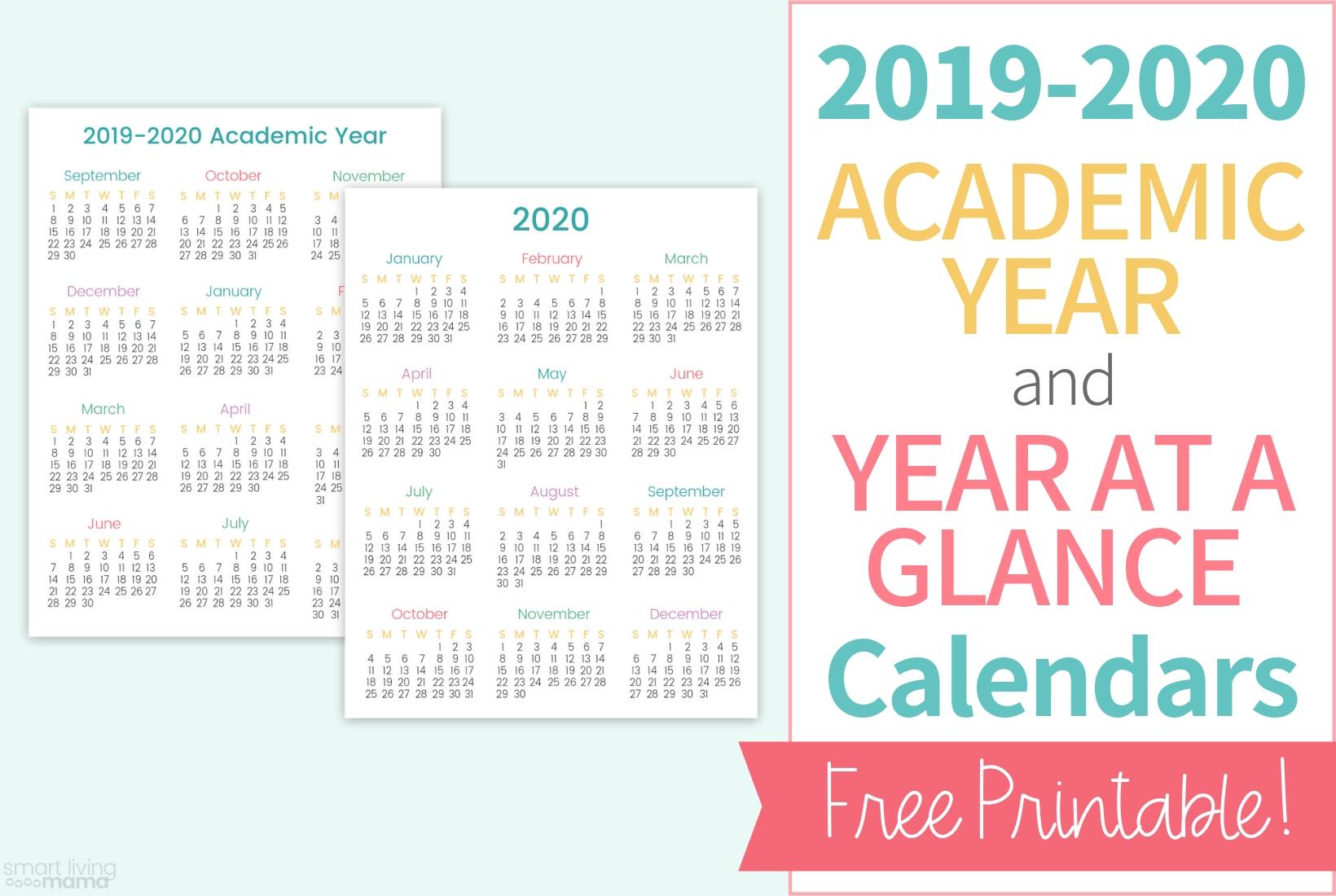 Colorful Printable Calendars For 2019-2020 | Smart Living Mama  Printable Calendar 2020 With Scriptures