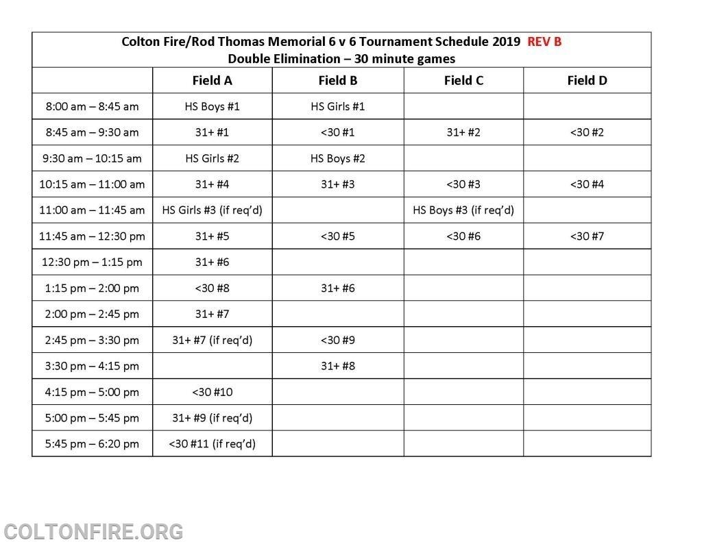 Colton Volunteer Fire Department  Fireman B Schedule