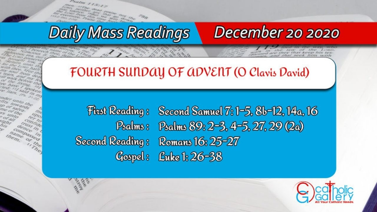 Daily Mass Readings - 20 December 2020 - Sunday - Catholic  Advent Scriptures 2020