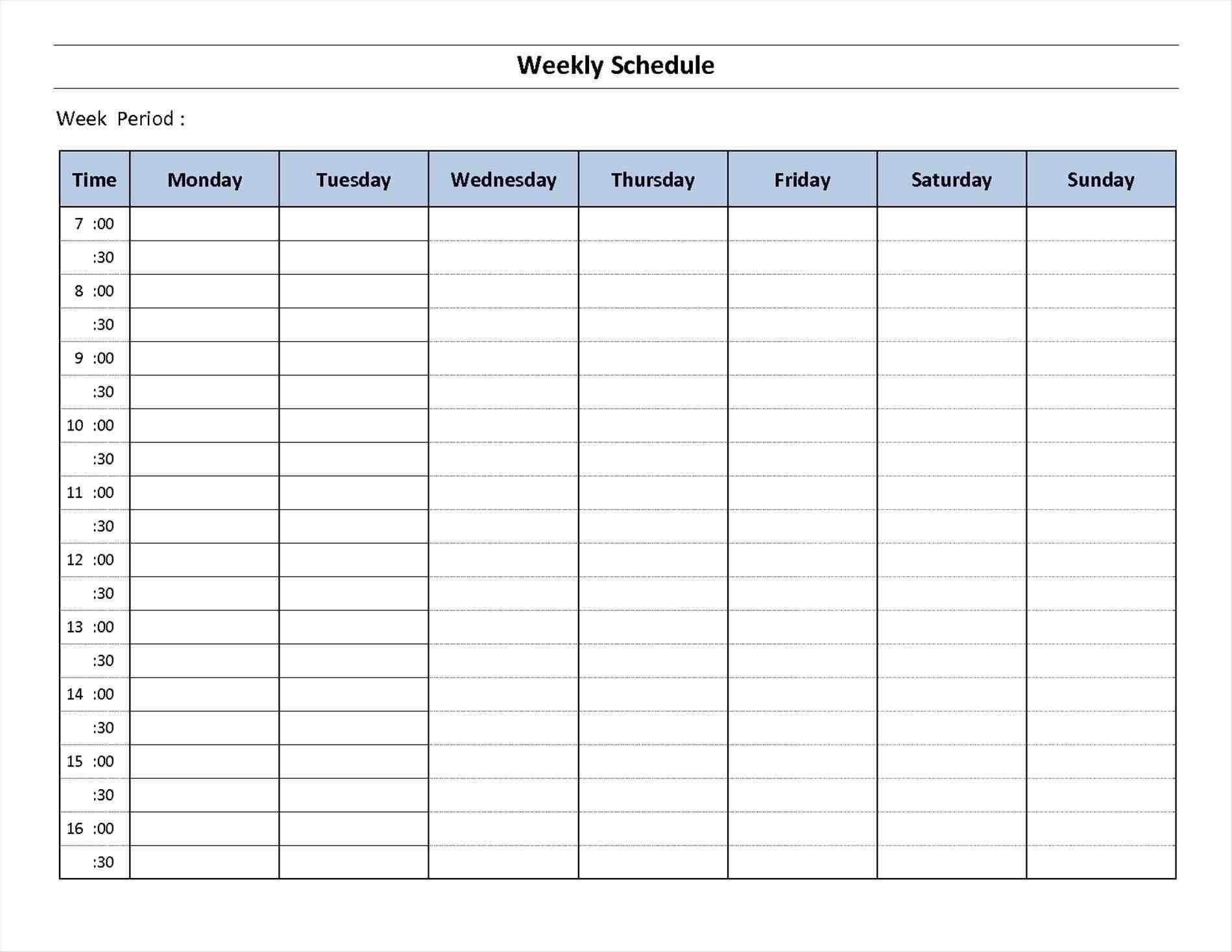 Day Weekly Planner Template Schedule Week Calendar Printable  7 Day Weekly Planner Pdf
