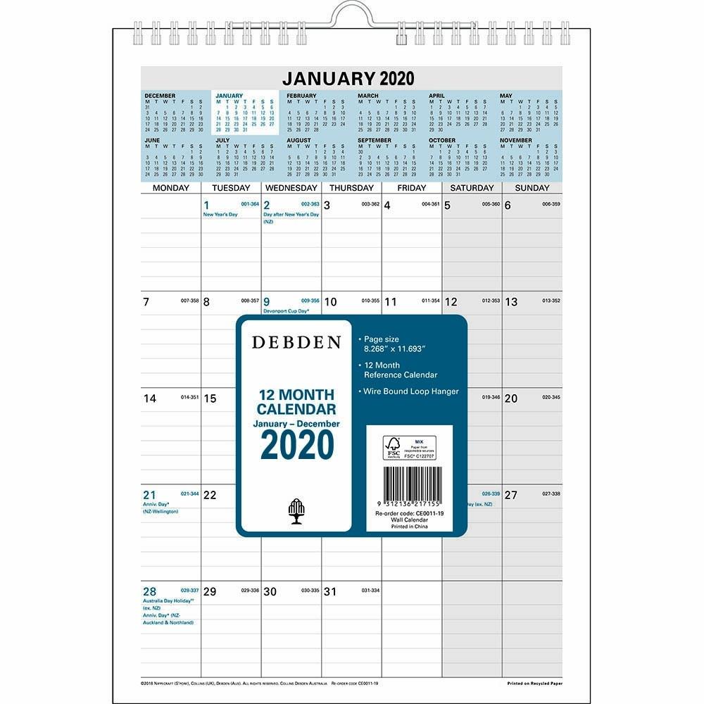 Debden 2020 12 Month Wiro Calendar A4 297 X 210Mm | Premier  Depot Calendar 2020
