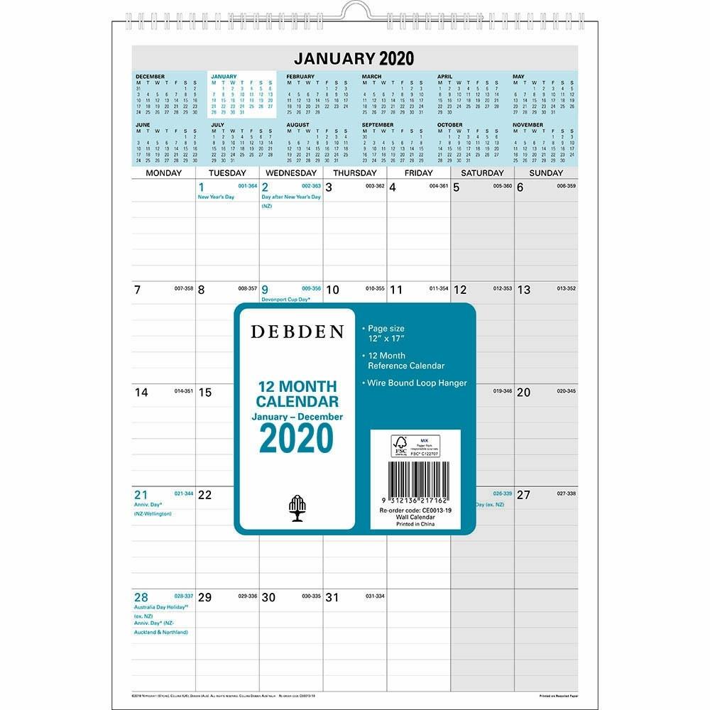 Debden 2020 12 Month Wiro Calendar Month To View 300 X 432Mm  Depot Calendar 2020