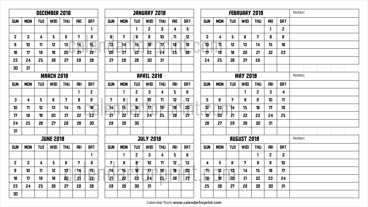 December 2018 To August 2019 Calendar | Design Dec To Aug  August - December