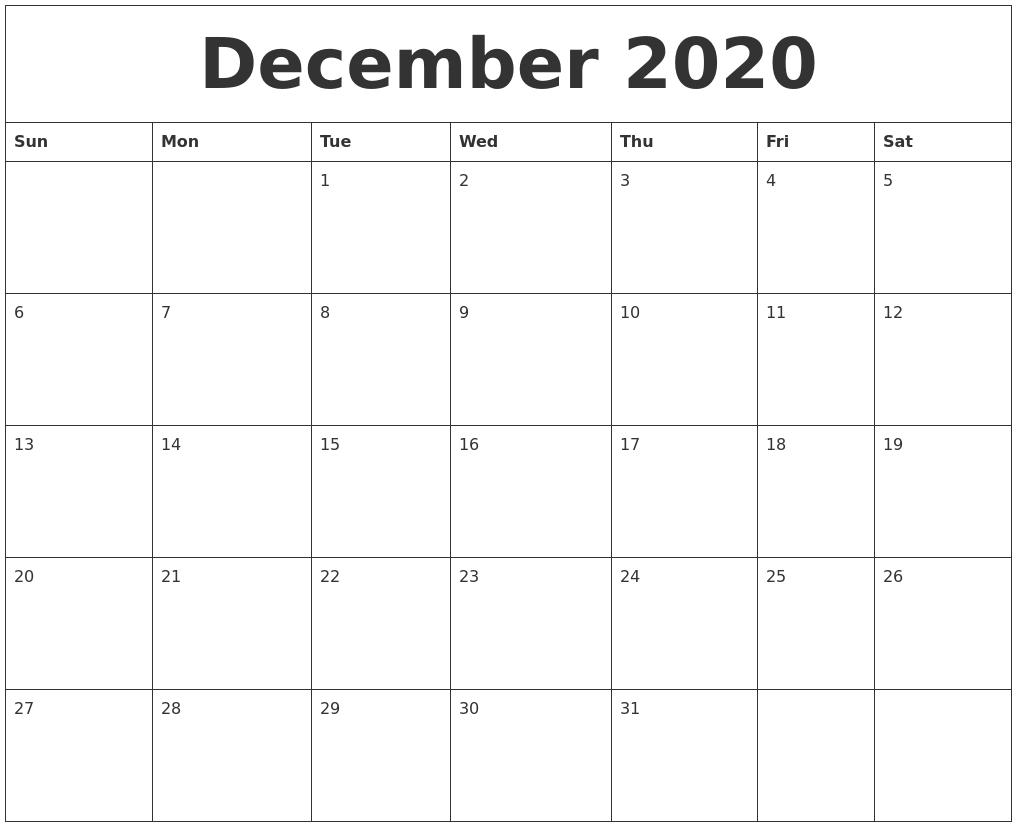 December 2020 Calendar  August-December 2020 Calendar