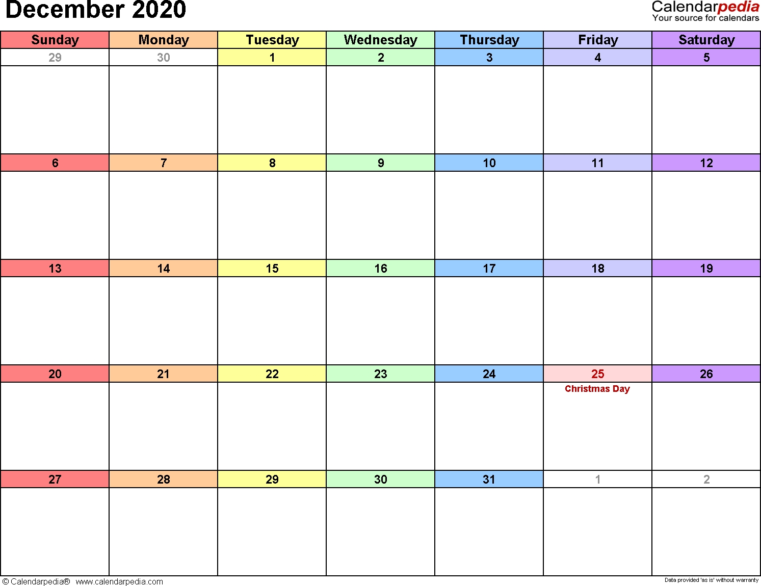 December 2020 Calendars For Word, Excel & Pdf  August-December 2020 Calendar
