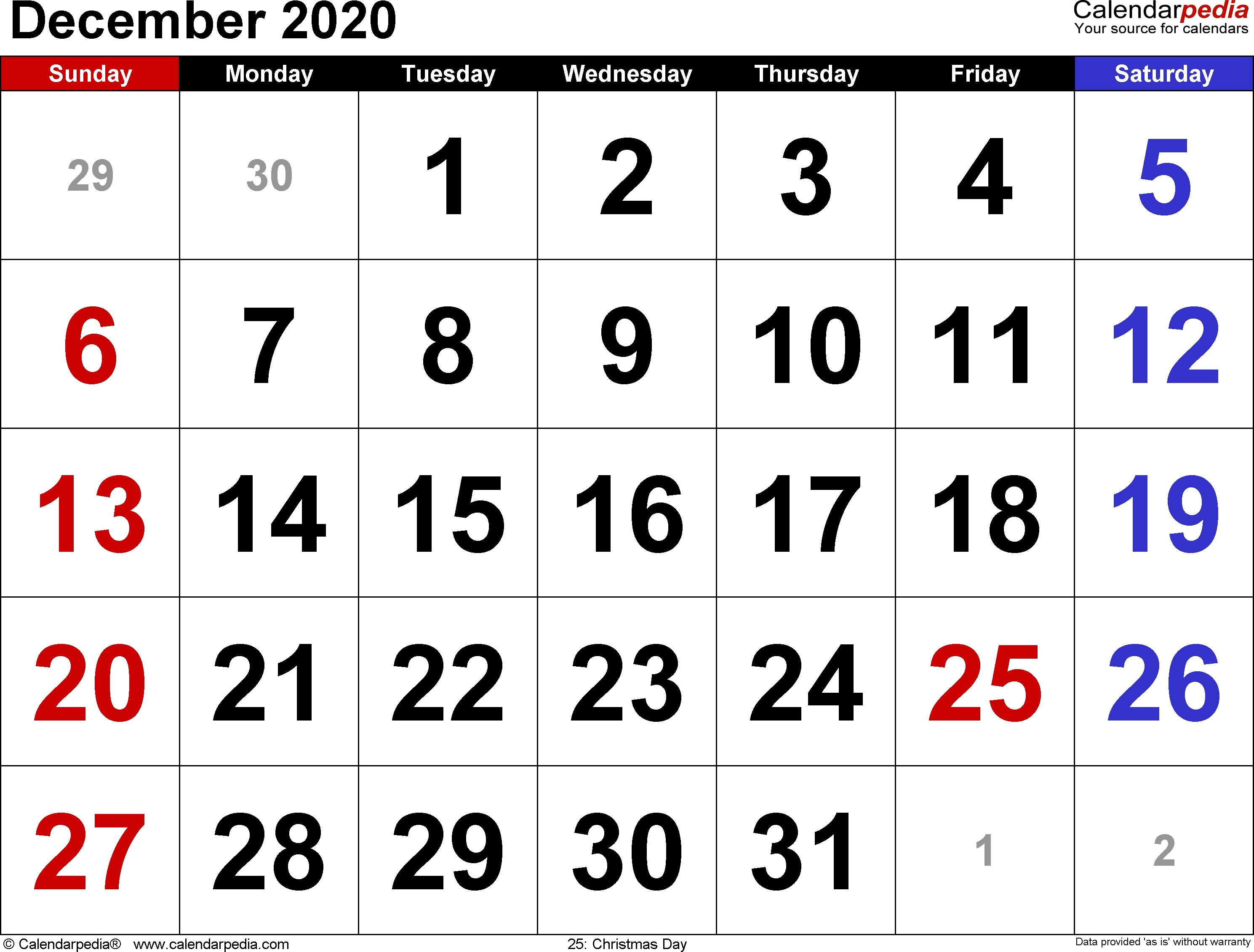 December 2020 Calendars For Word, Excel & Pdf  August To December 2020 Calendar