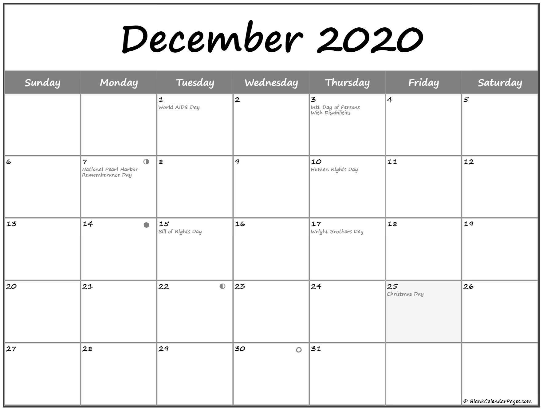 December 2020 Lunar Calendar | Moon Phase Calendar  Solar Lunar Calendar - 2020