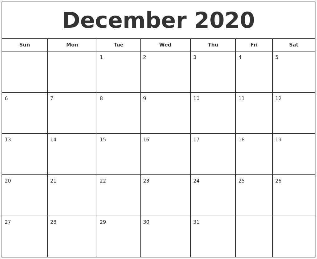 December 2020 Print Free Calendar  Aug - Dec 2020 Calendar