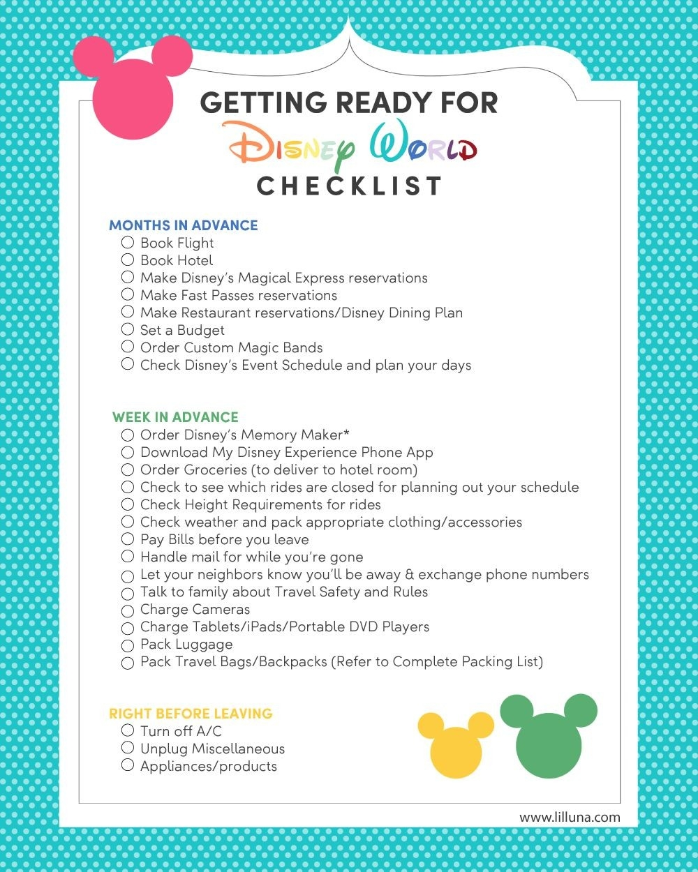 Disney World Packing List | Disney 2020 | Disney World  Disney World Attractions Printable List 2020