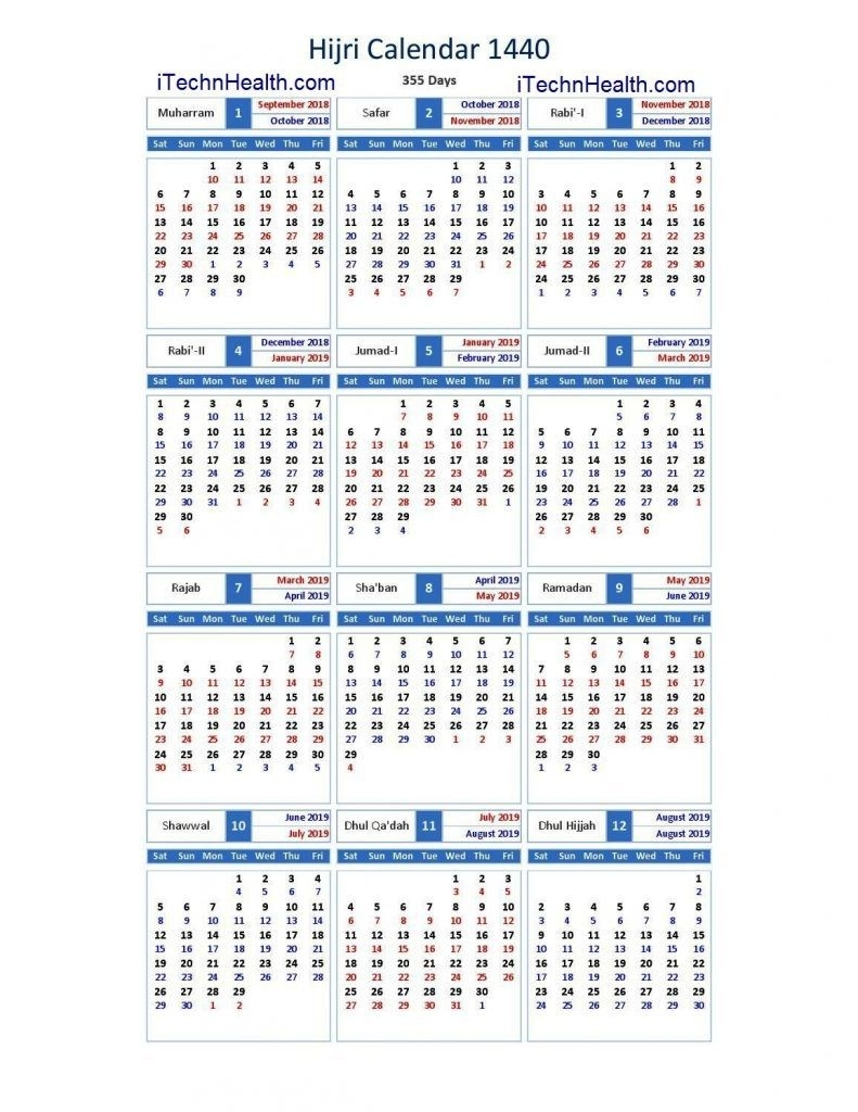 Download Calendar 2019 And Islamic Calendar 2019 / 1440  Calendrier Can 2020 Musulman