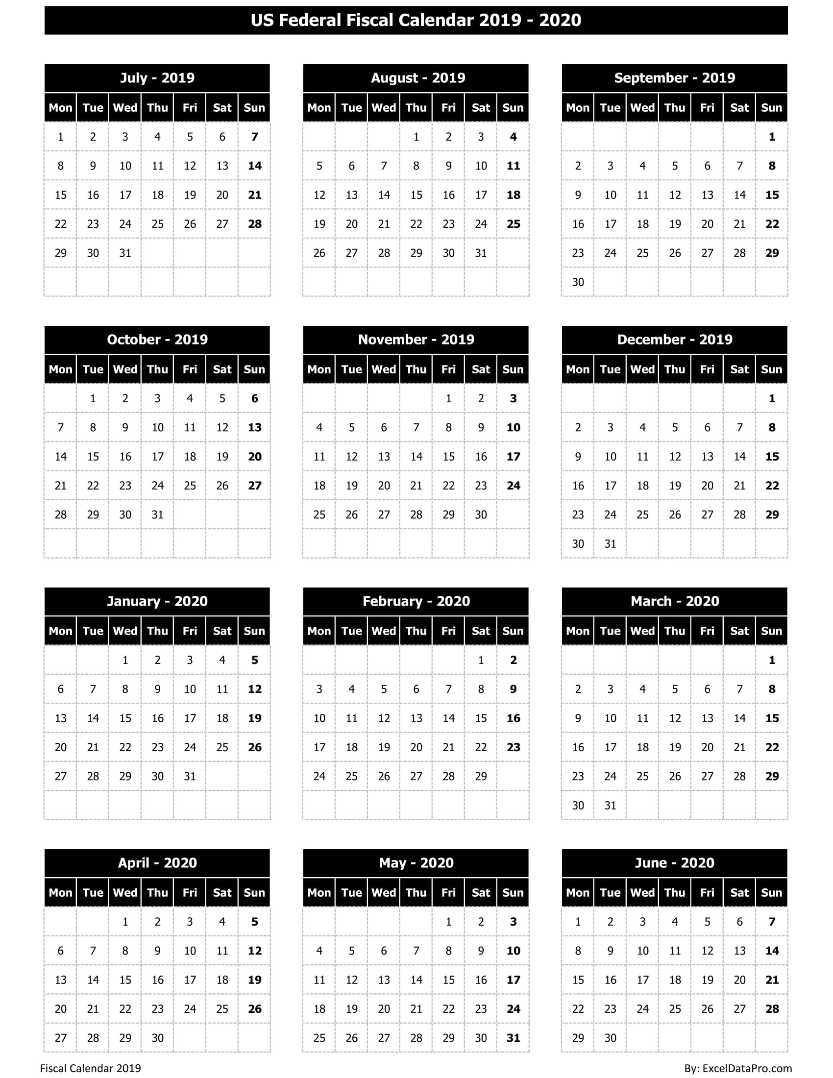 Download Us Federal Fiscal Calendar 2019-20 Excel Template  Australian Financial Year Calendar