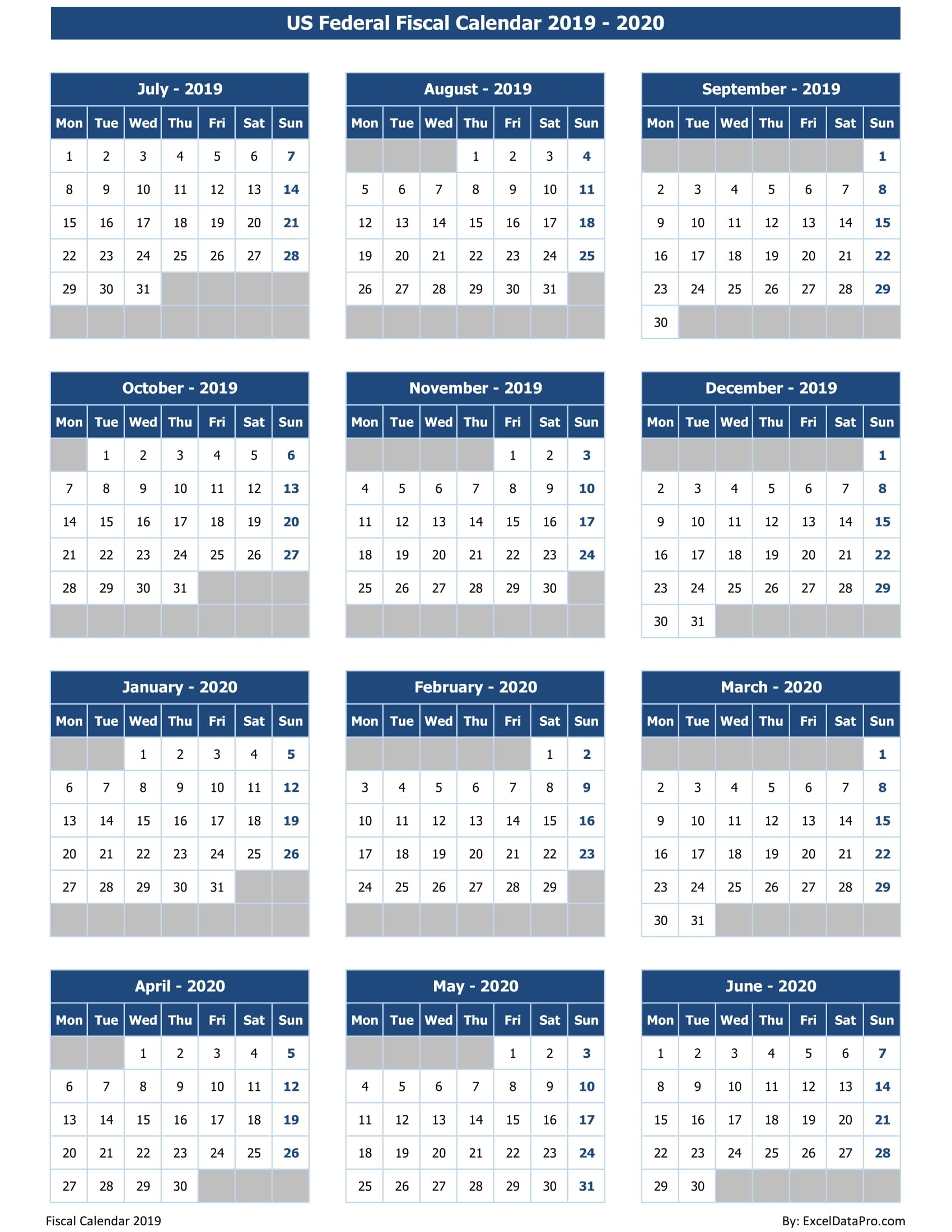 Download Us Federal Fiscal Calendar 2019-20 Excel Template  Australian Financial Year From When To When