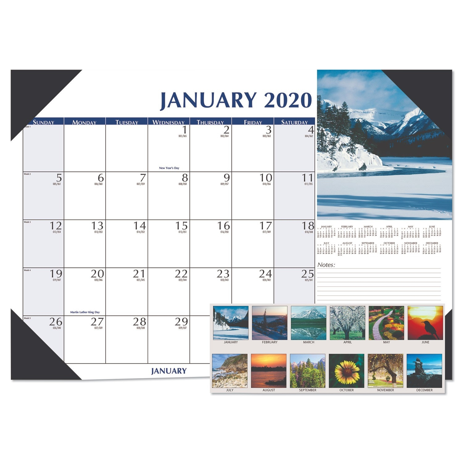 Earthscapes Scenic Desk Pad Calendar, 22 X 17, 2020  365 Day Julian Calendar 2020