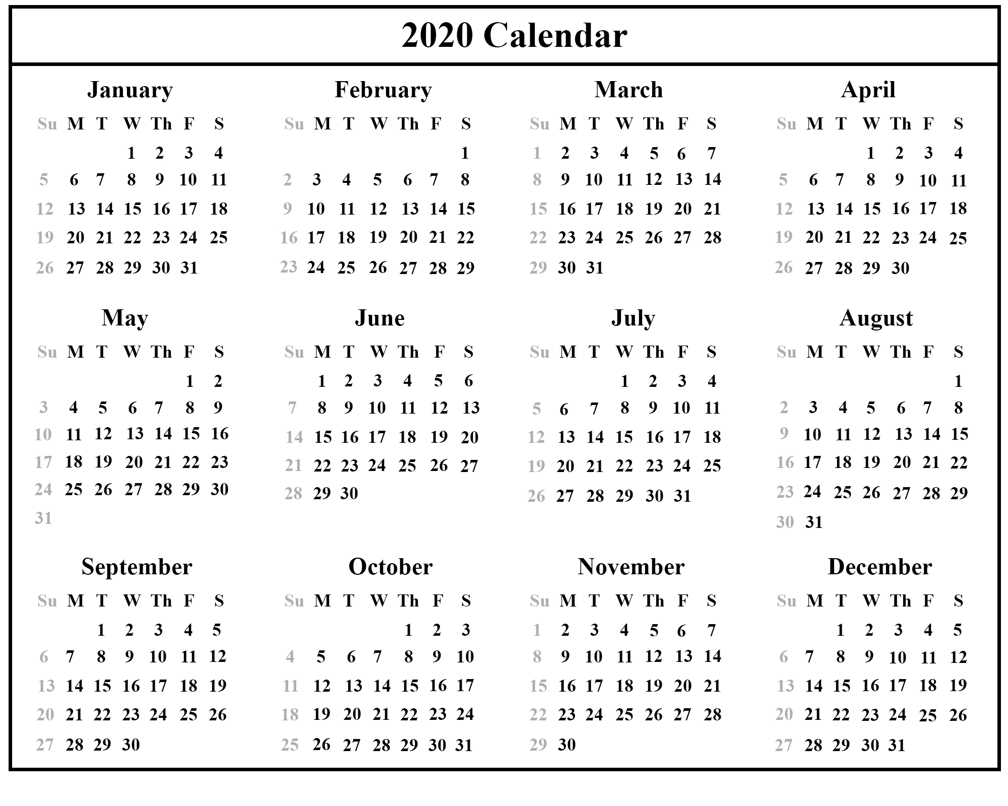 Editable 2020 Calendar Printable Template Blank With Notes  2020 Calendar Printable Full Page