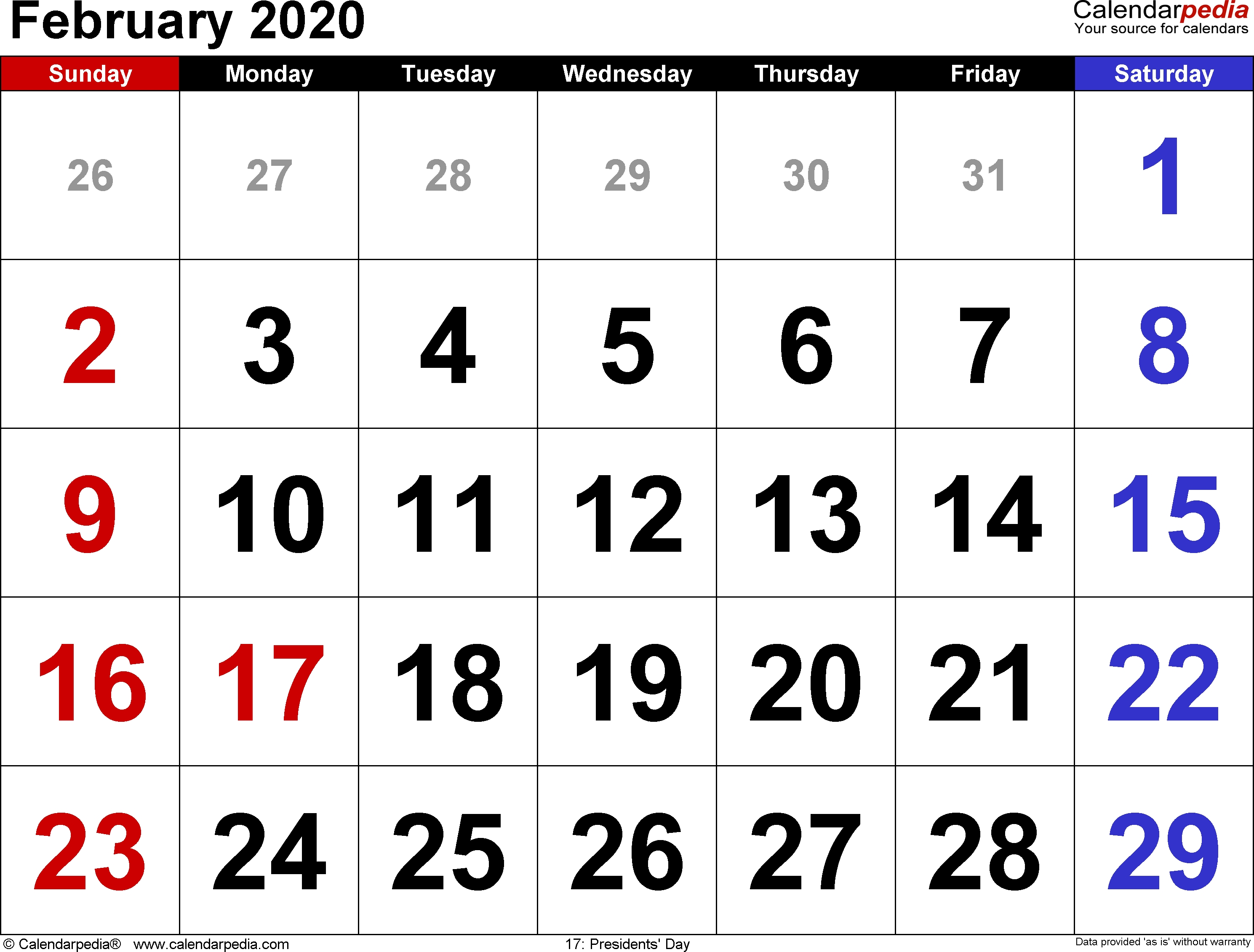 February 2020 Calendars For Word, Excel & Pdf  Date Code Calendar 2020