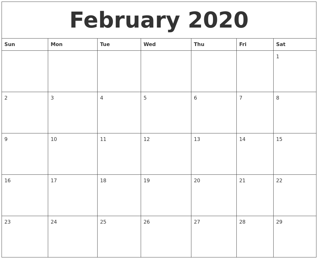 February 2020 Free Printable Calendar Templates  Printable 2020 Full Page Monthly Calendar
