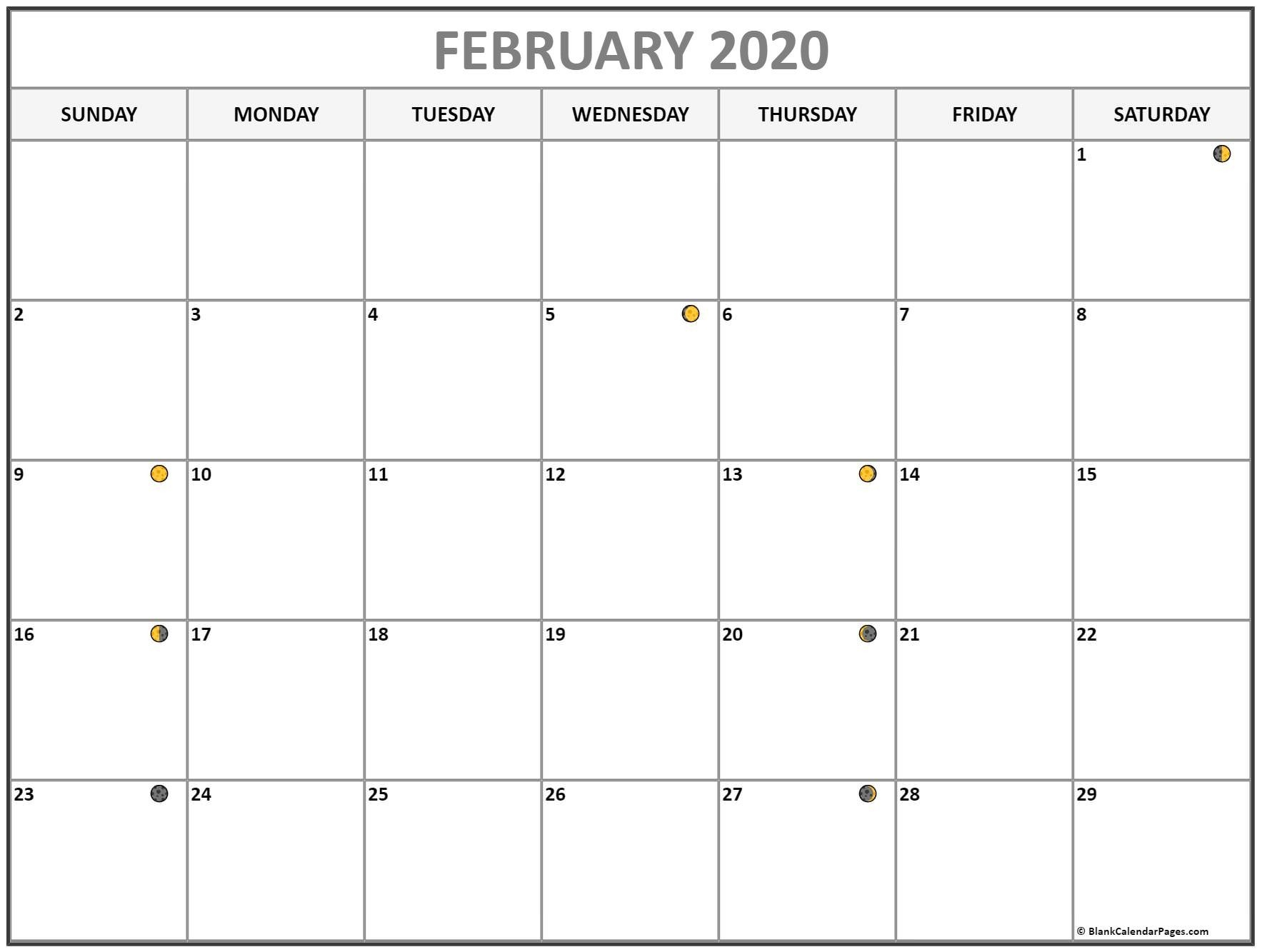 February 2020 Lunar Calendar | Moon Phase Calendar  Lunar And Solar Calendar 2020