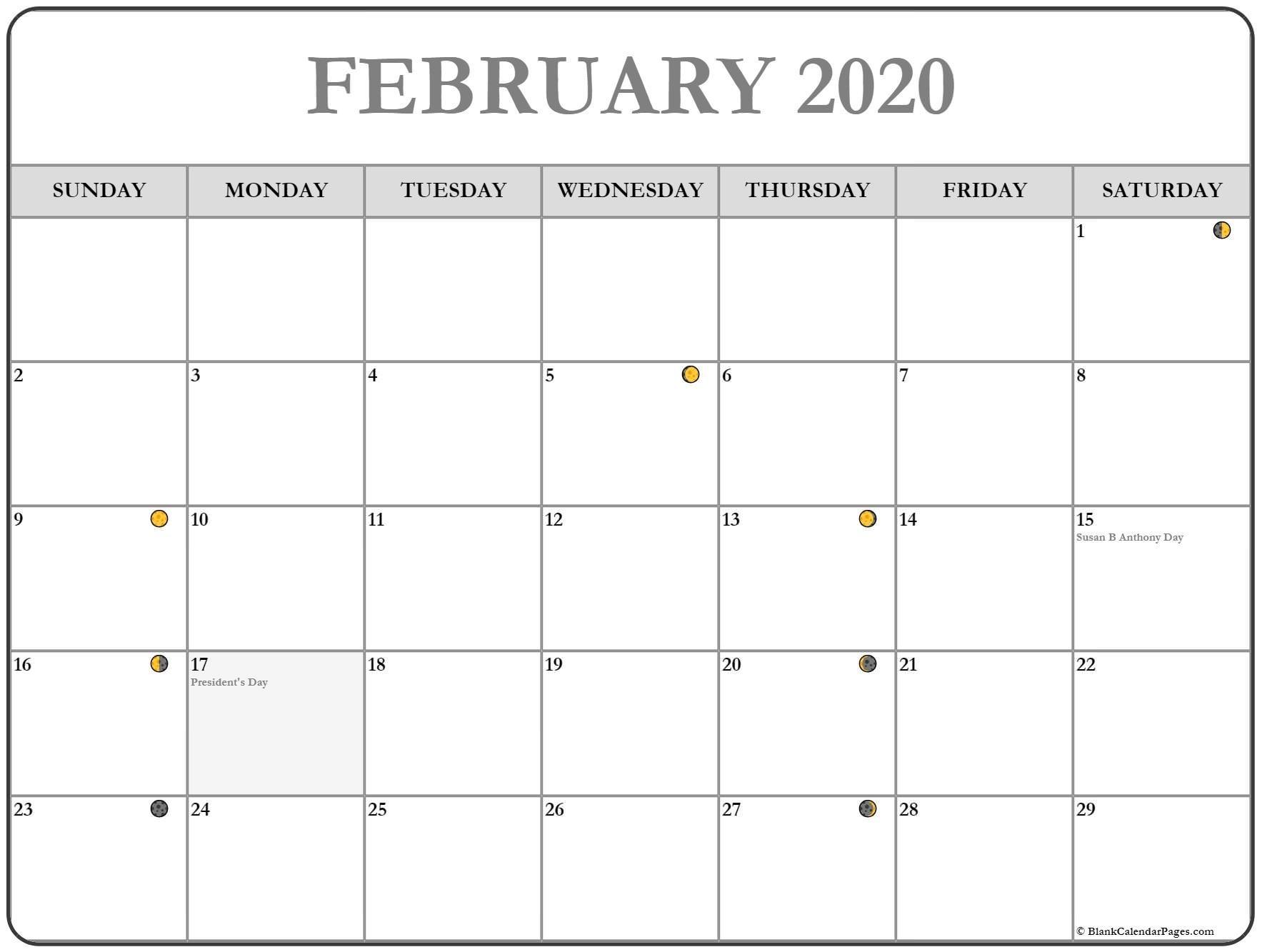 February 2020 Lunar Calendar | Moon Phase Calendar  Solar Lunar Calendar - 2020