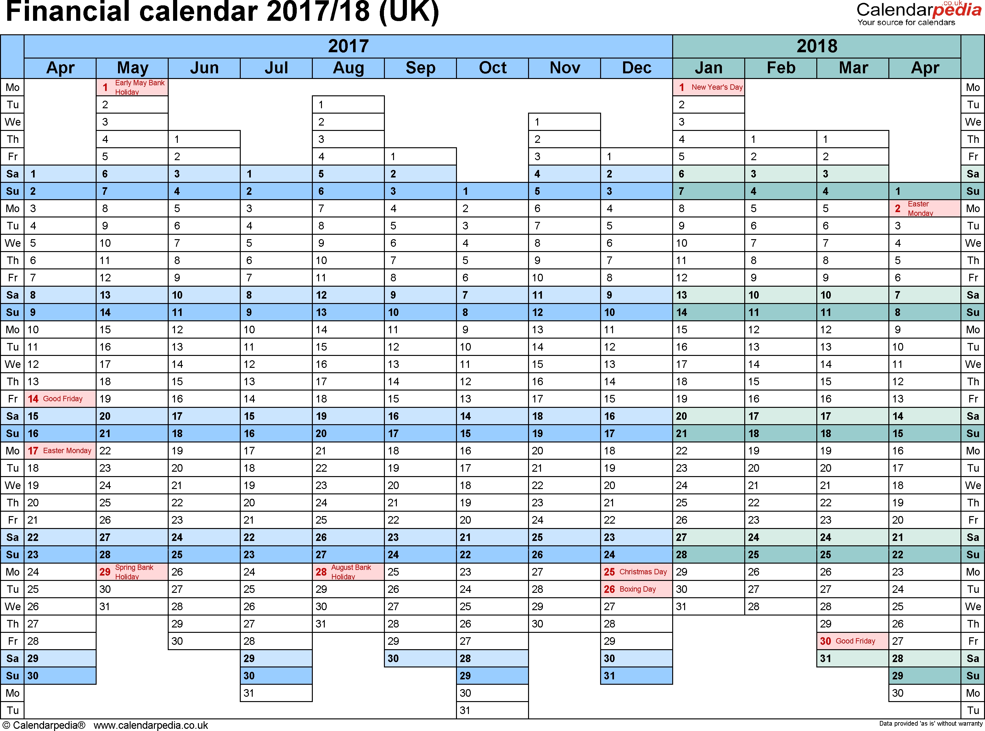 Financial Calendars 2017/18 (Uk) In Pdf Format  Financial Year Calander
