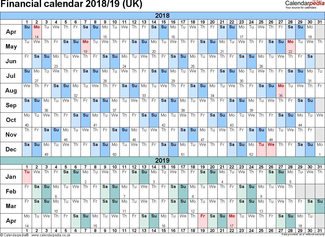 Financial Calendars 2018/19 (Uk) In Pdf Format  Financial Year Calendar