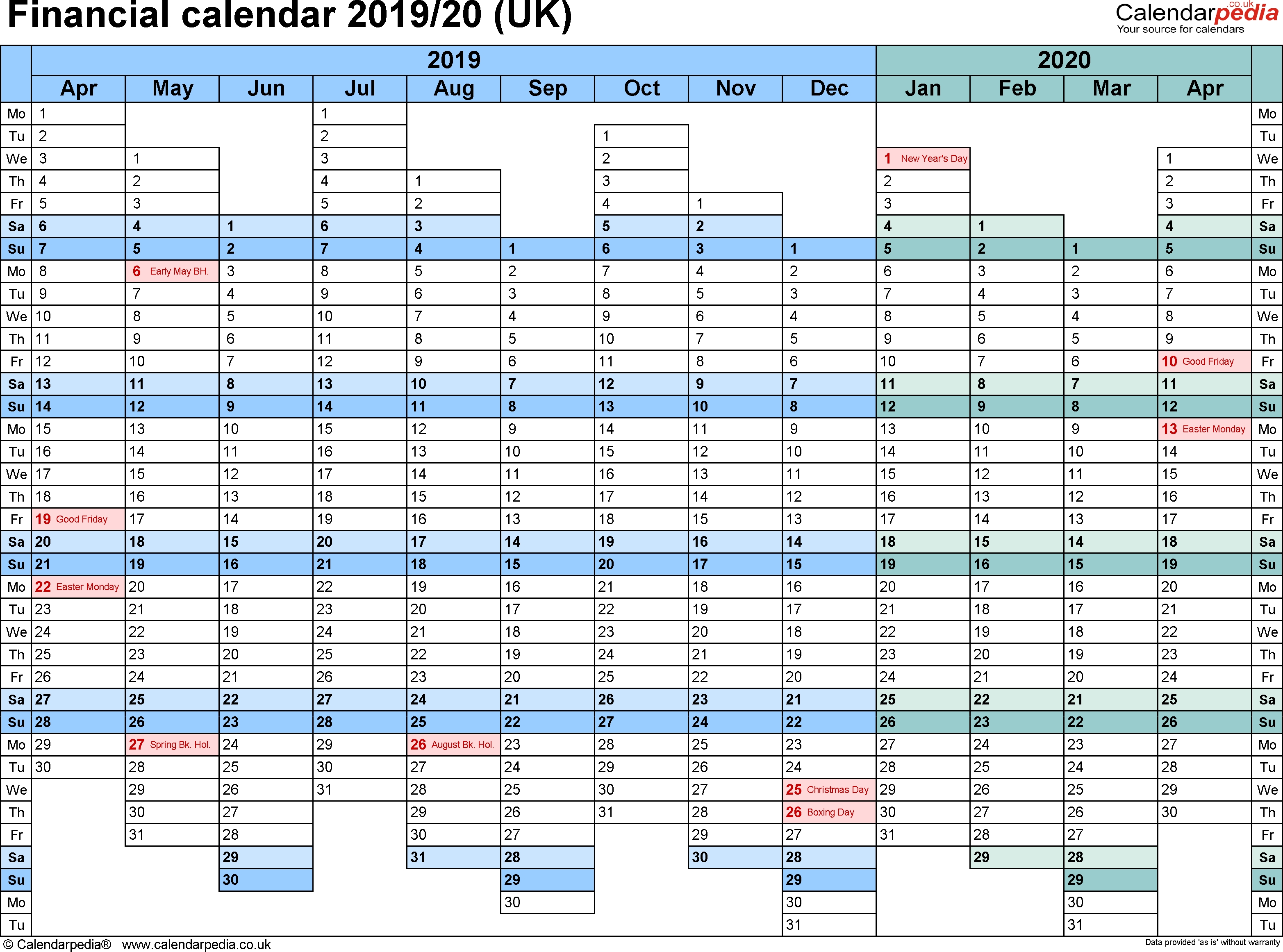 Financial Calendars 2019/20 (Uk) In Pdf Format  2020 Financial Year Dates