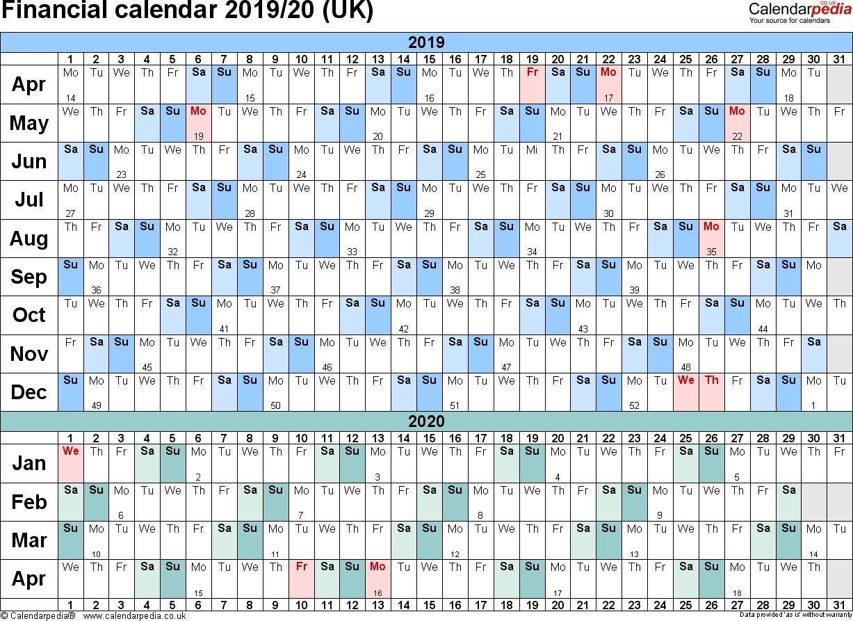 Financial Calendars 2019/20 (Uk) In Pdf Format  Financial Year Dates 2020