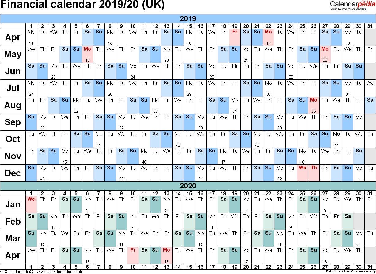 Financial Calendars 2019/20 (Uk) In Pdf Format  Tax Week Numbers 2020